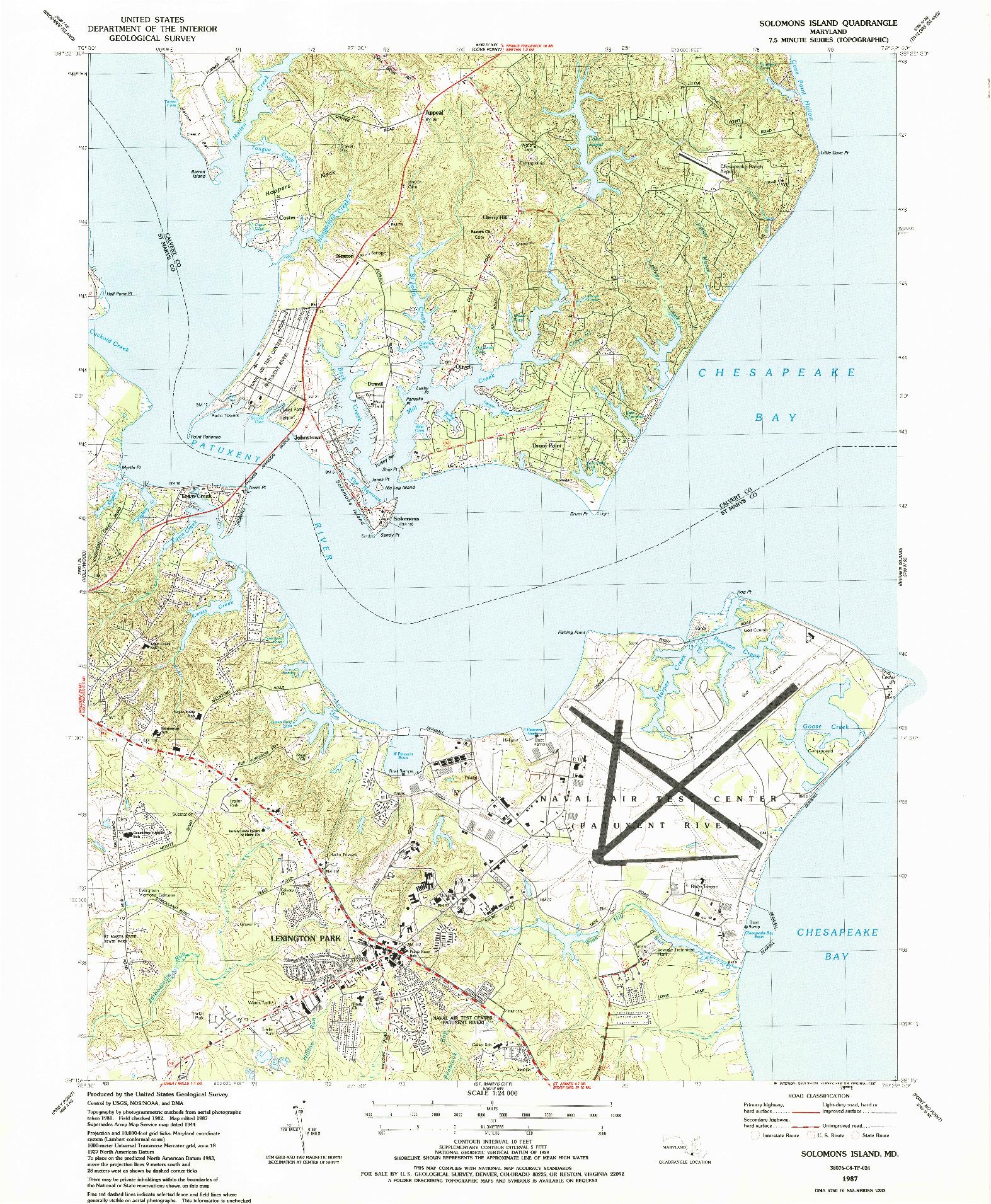 USGS 1:24000-SCALE QUADRANGLE FOR SOLOMONS ISLAND, MD 1987