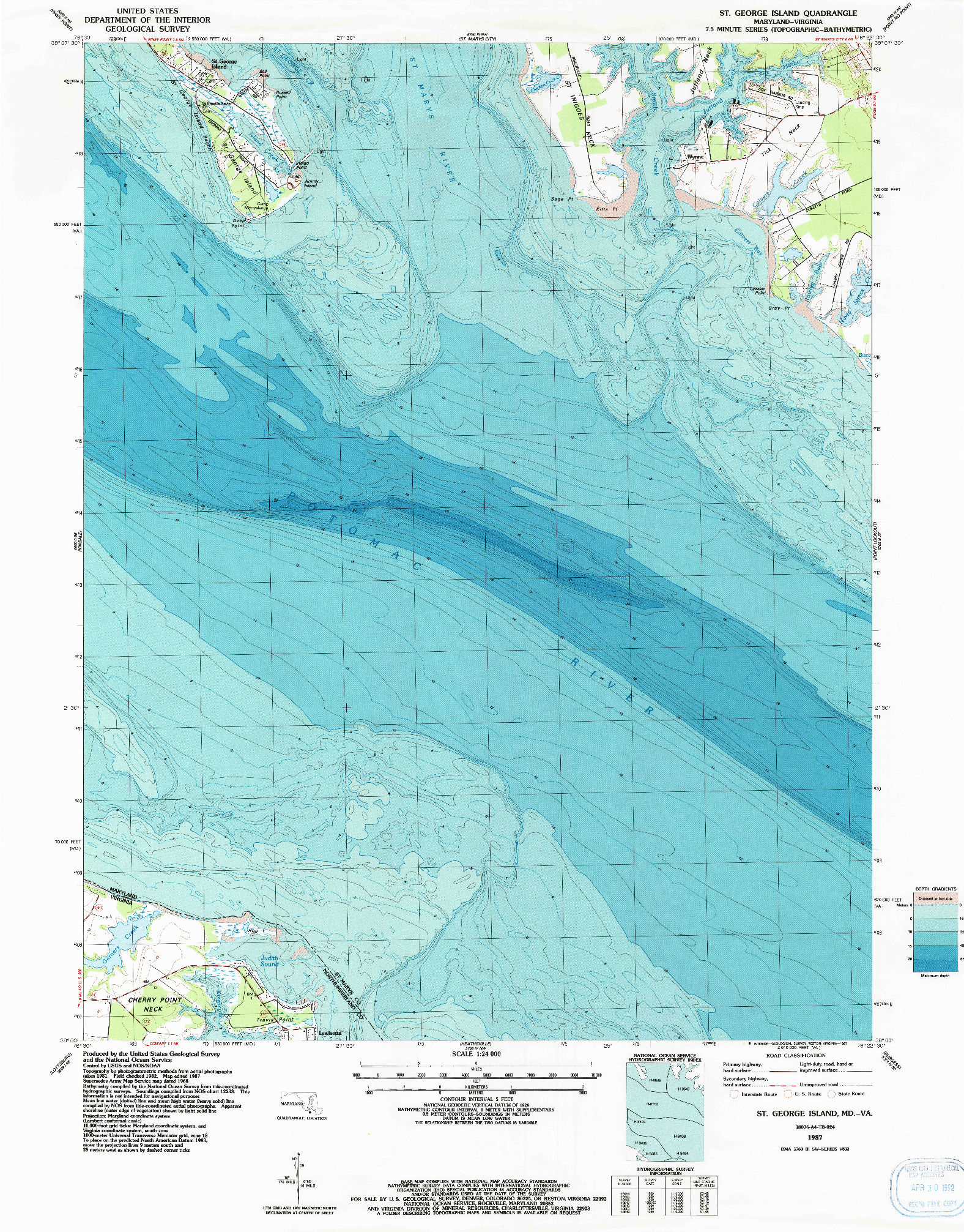 USGS 1:24000-SCALE QUADRANGLE FOR ST. GEORGE ISLAND, MD 1987