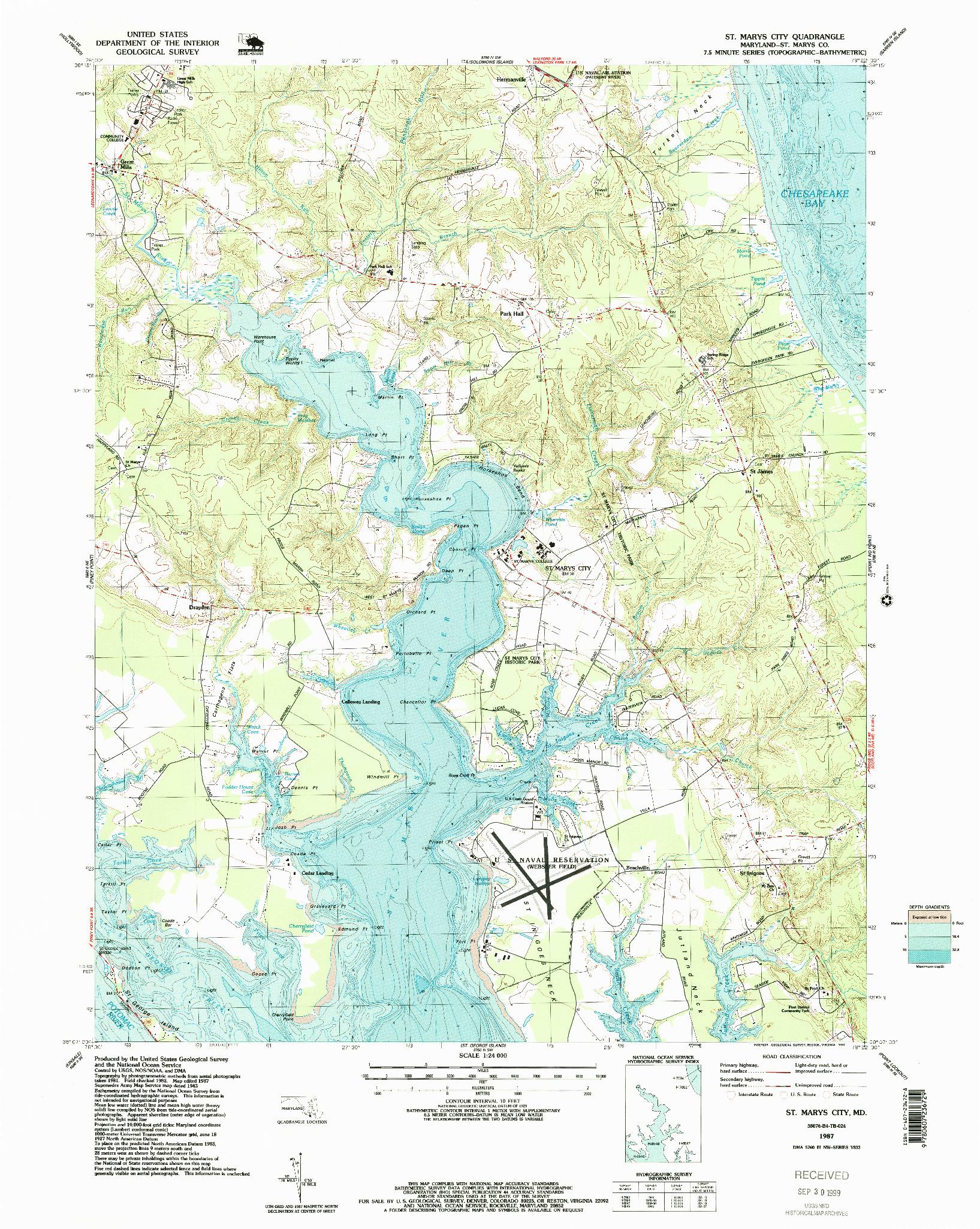 USGS 1:24000-SCALE QUADRANGLE FOR ST. MARYS CITY, MD 1987