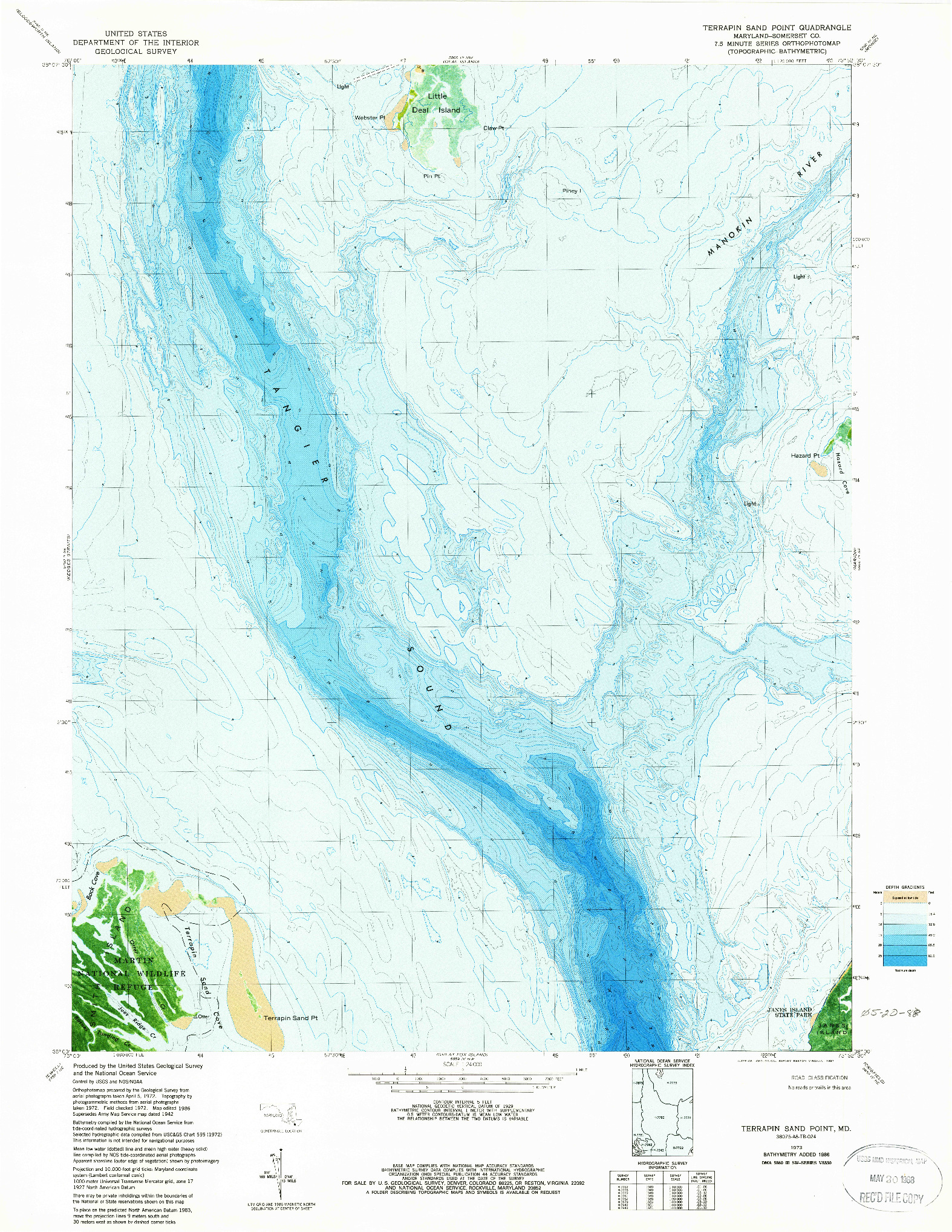 USGS 1:24000-SCALE QUADRANGLE FOR TERRAPIN SAND POINT, MD 1973