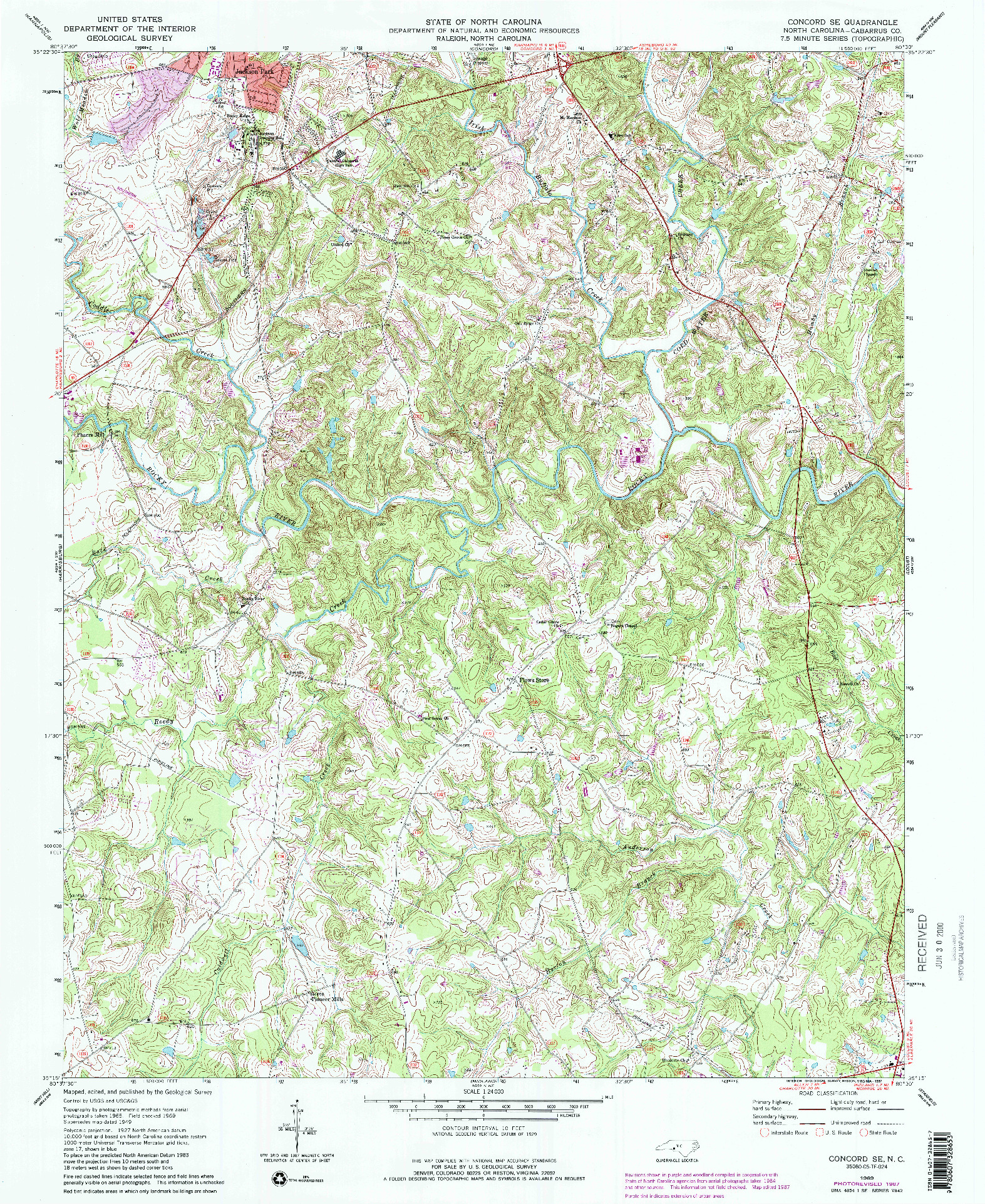 USGS 1:24000-SCALE QUADRANGLE FOR CONCORD SE, NC 1969