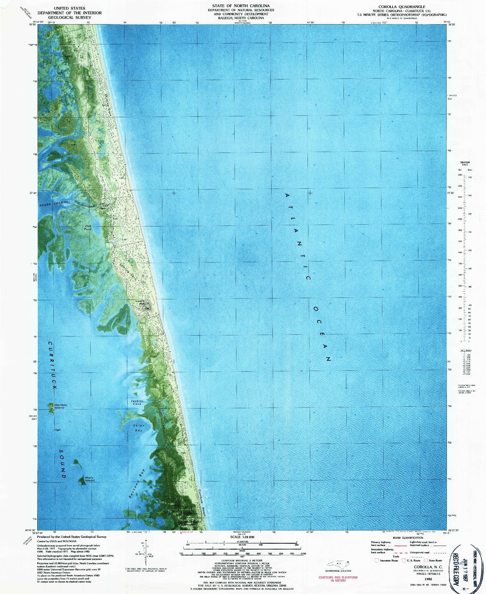 USGS 1:24000-SCALE QUADRANGLE FOR COROLLA, NC 1982