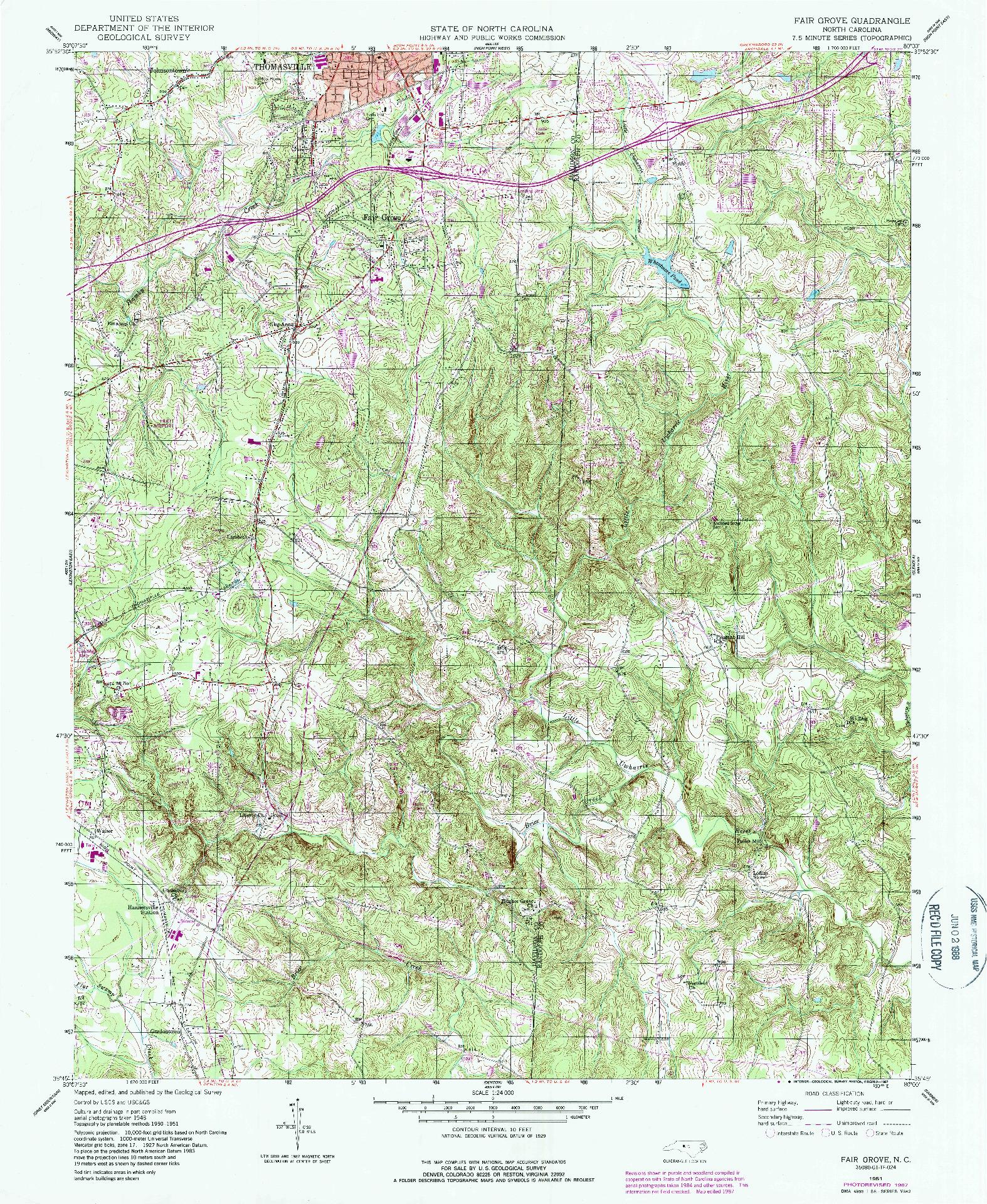 USGS 1:24000-SCALE QUADRANGLE FOR FAIR GROVE, NC 1951