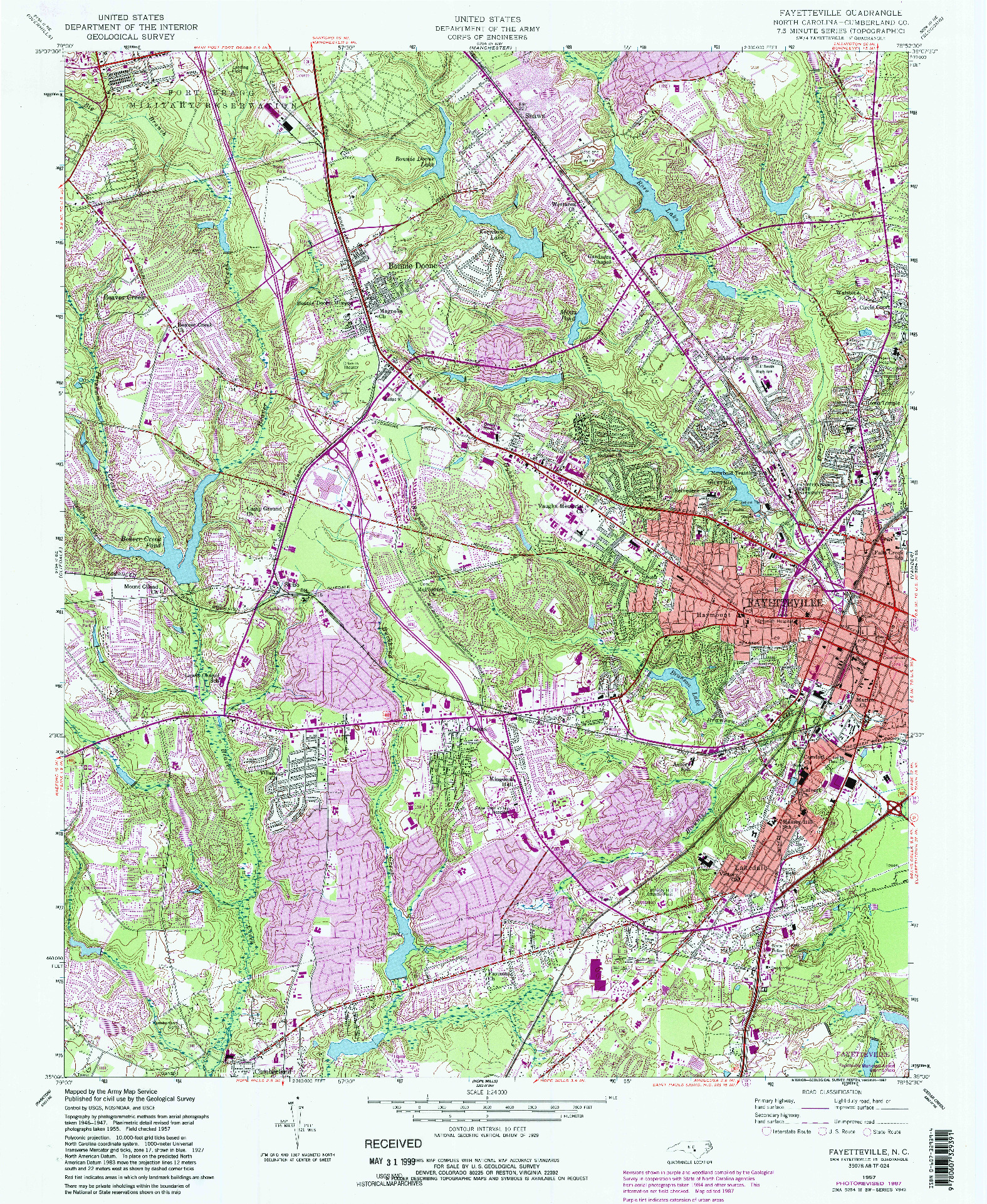 USGS 1:24000-SCALE QUADRANGLE FOR FAYETTEVILLE, NC 1957