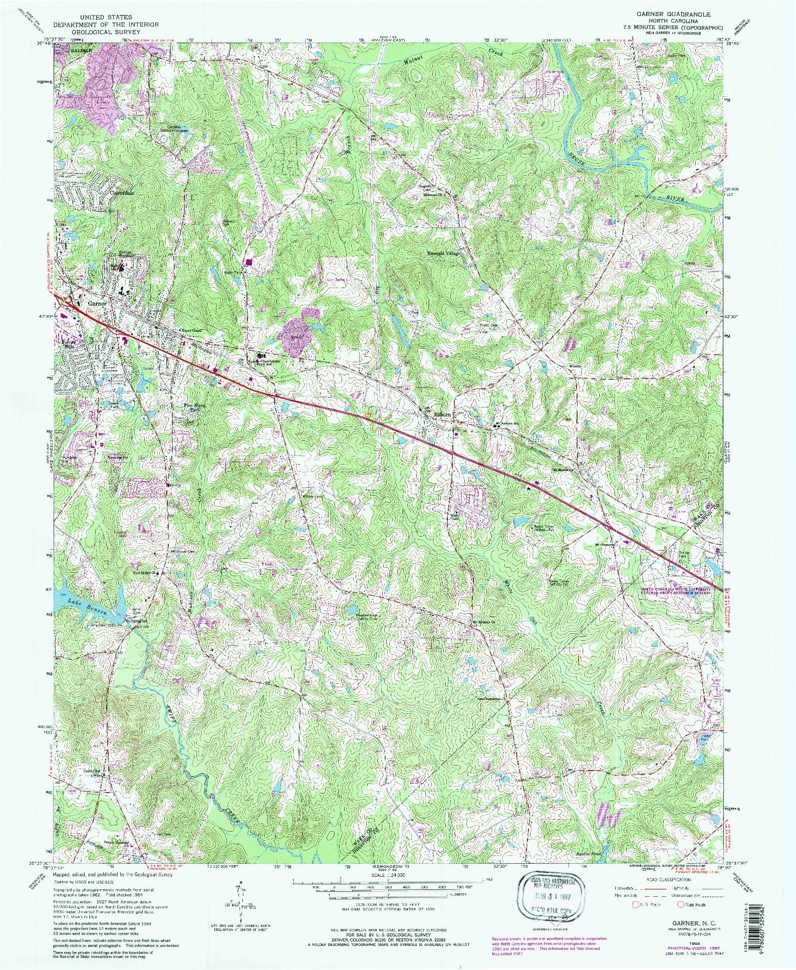 USGS 1:24000-SCALE QUADRANGLE FOR GARNER, NC 1964