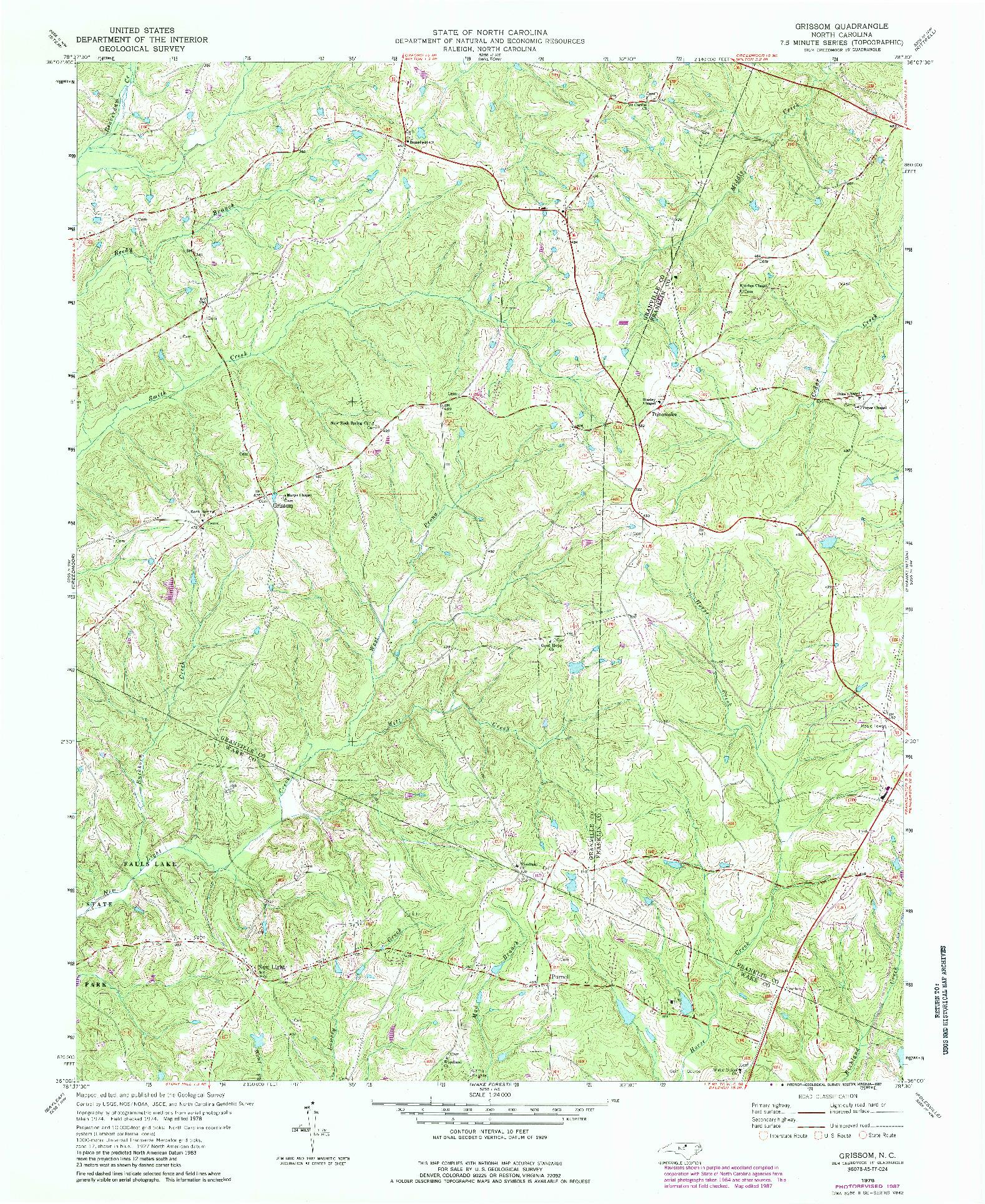 USGS 1:24000-SCALE QUADRANGLE FOR GRISSOM, NC 1978
