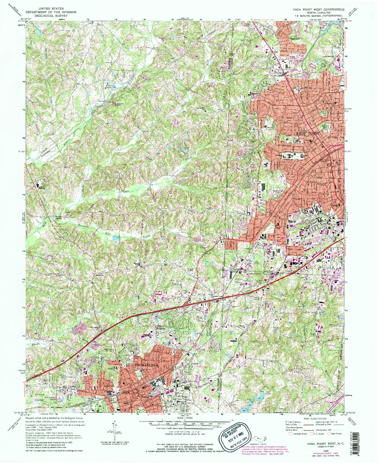 USGS 1:24000-SCALE QUADRANGLE FOR HIGH POINT WEST, NC 1969