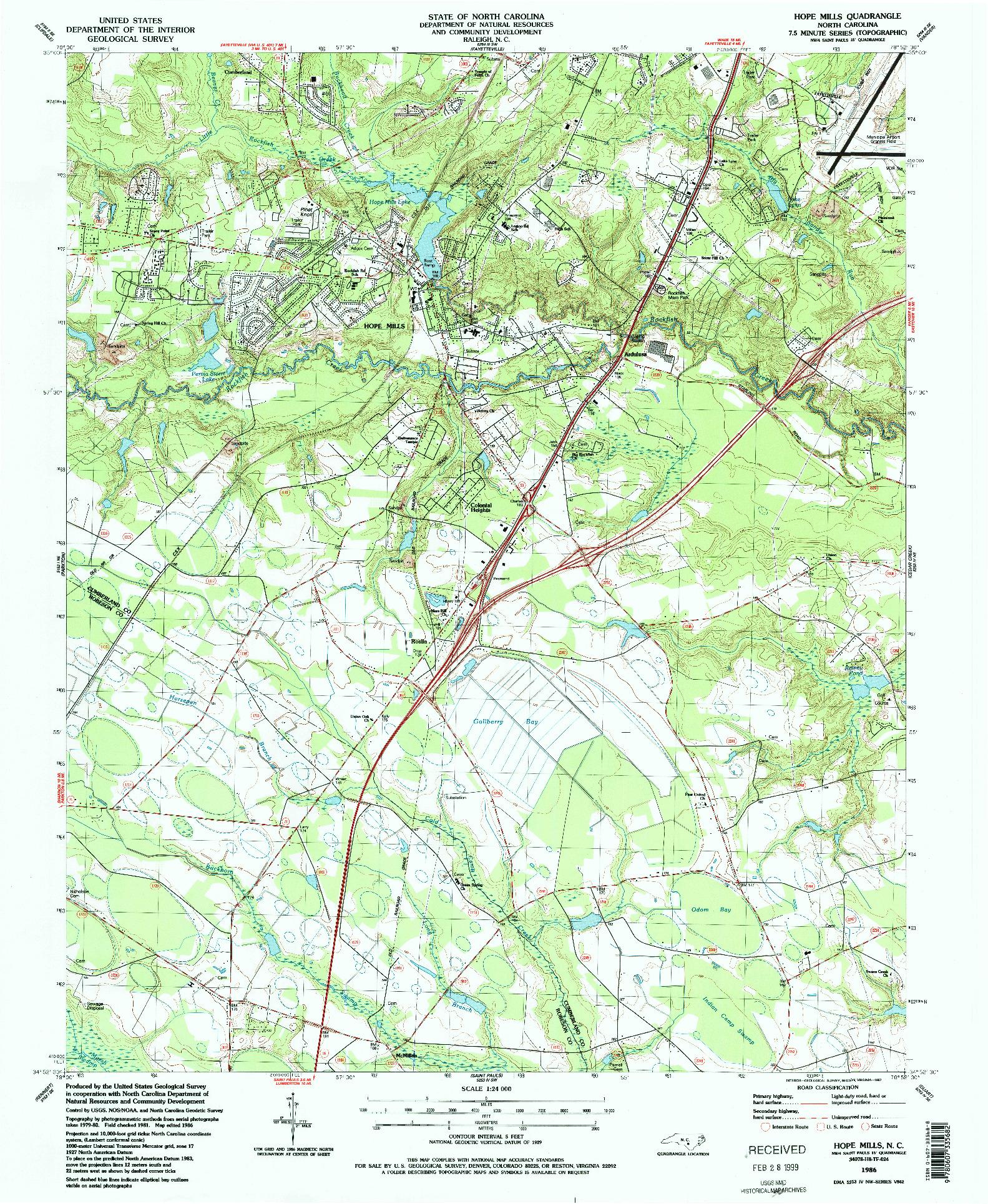 USGS 1:24000-SCALE QUADRANGLE FOR HOPE MILLS, NC 1986