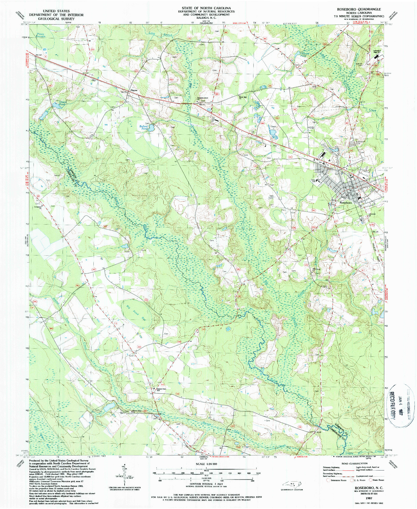 USGS 1:24000-SCALE QUADRANGLE FOR ROSEBORO, NC 1987