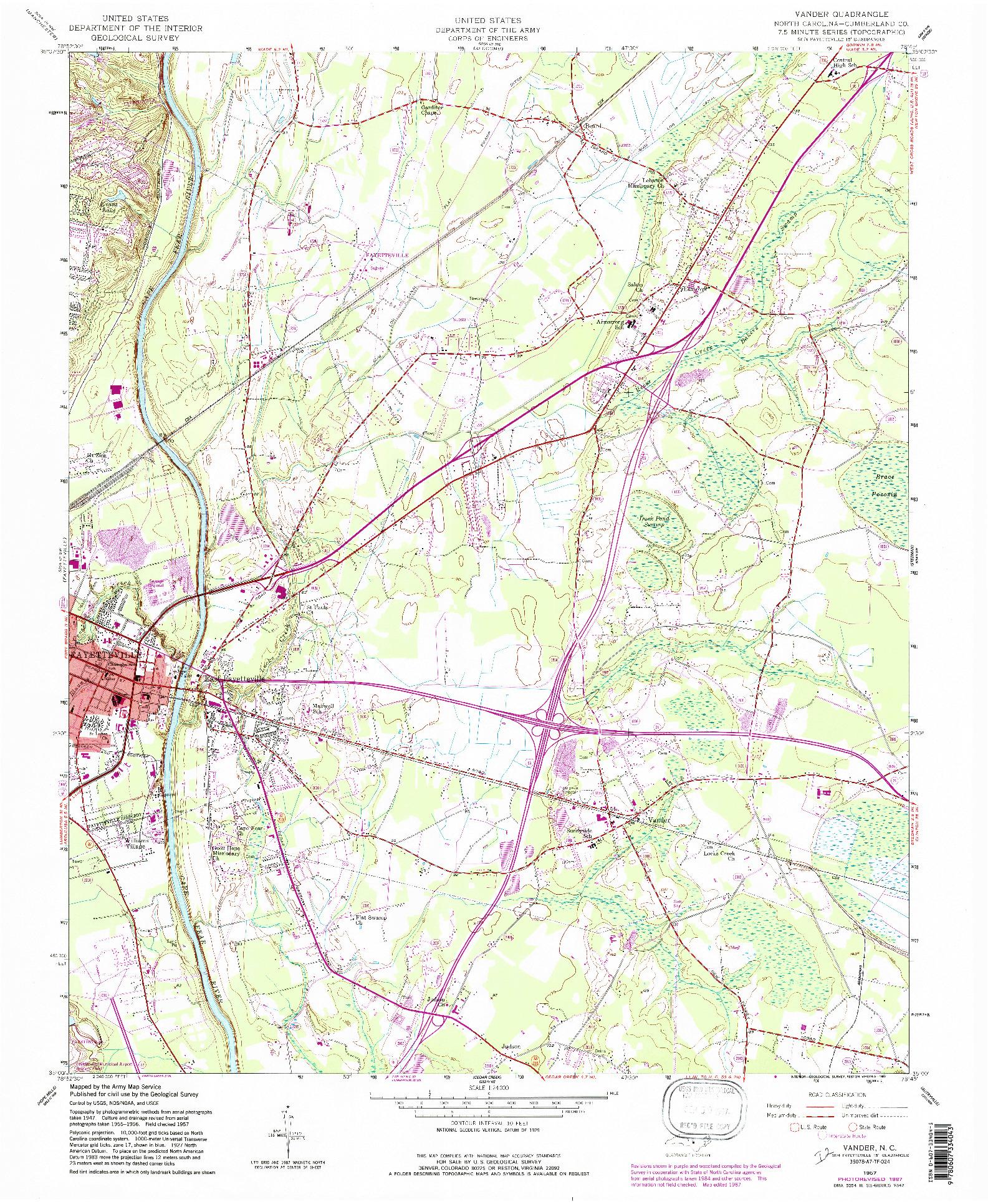 USGS 1:24000-SCALE QUADRANGLE FOR VANDER, NC 1957