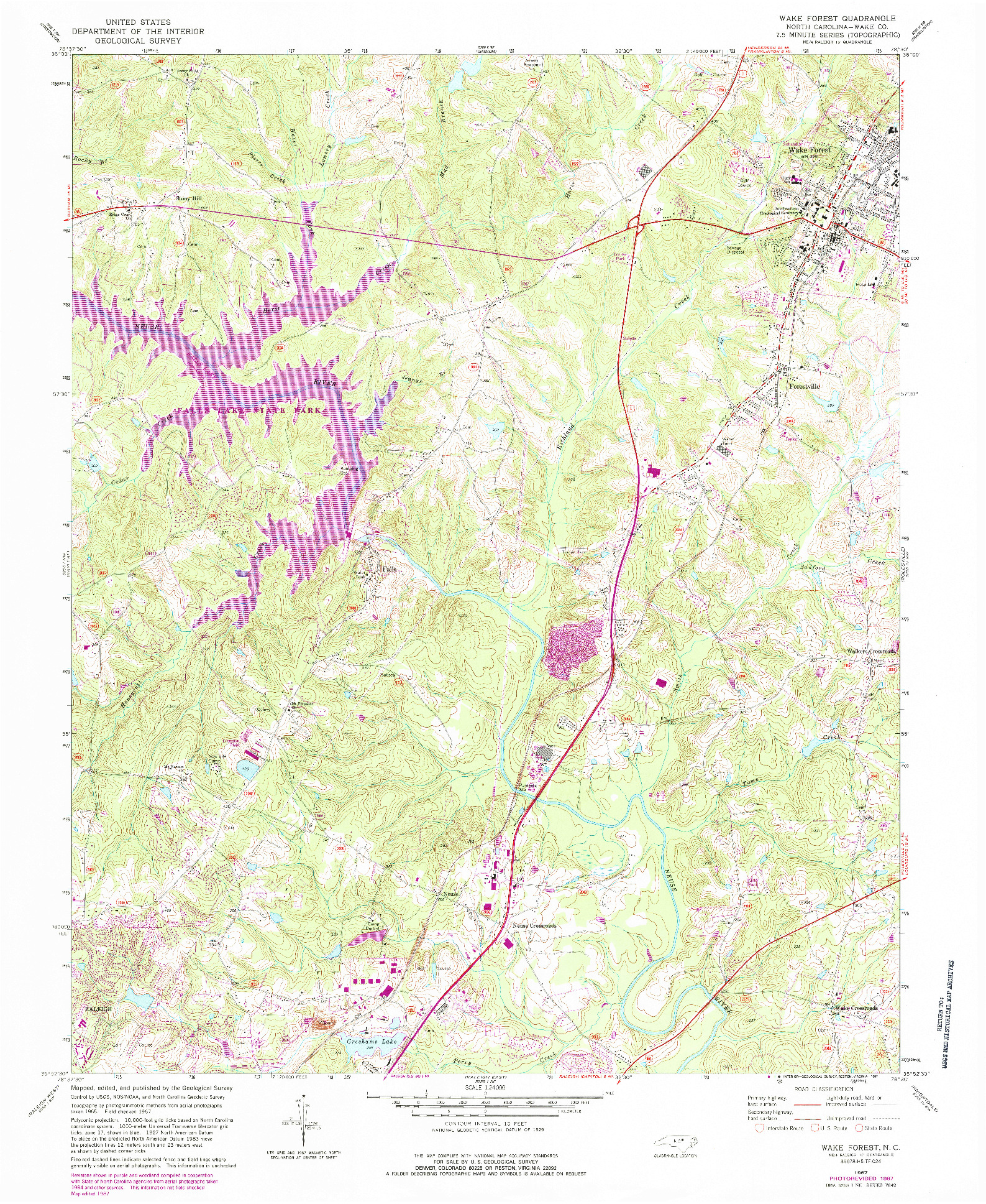 USGS 1:24000-SCALE QUADRANGLE FOR WAKE FOREST, NC 1967