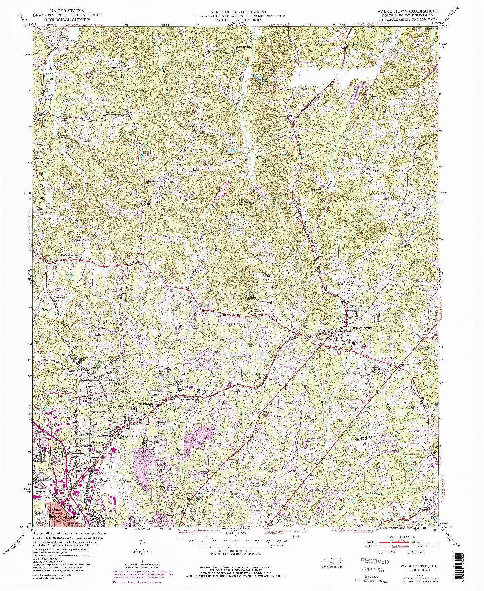 USGS 1:24000-SCALE QUADRANGLE FOR WALKERTOWN, NC 1951