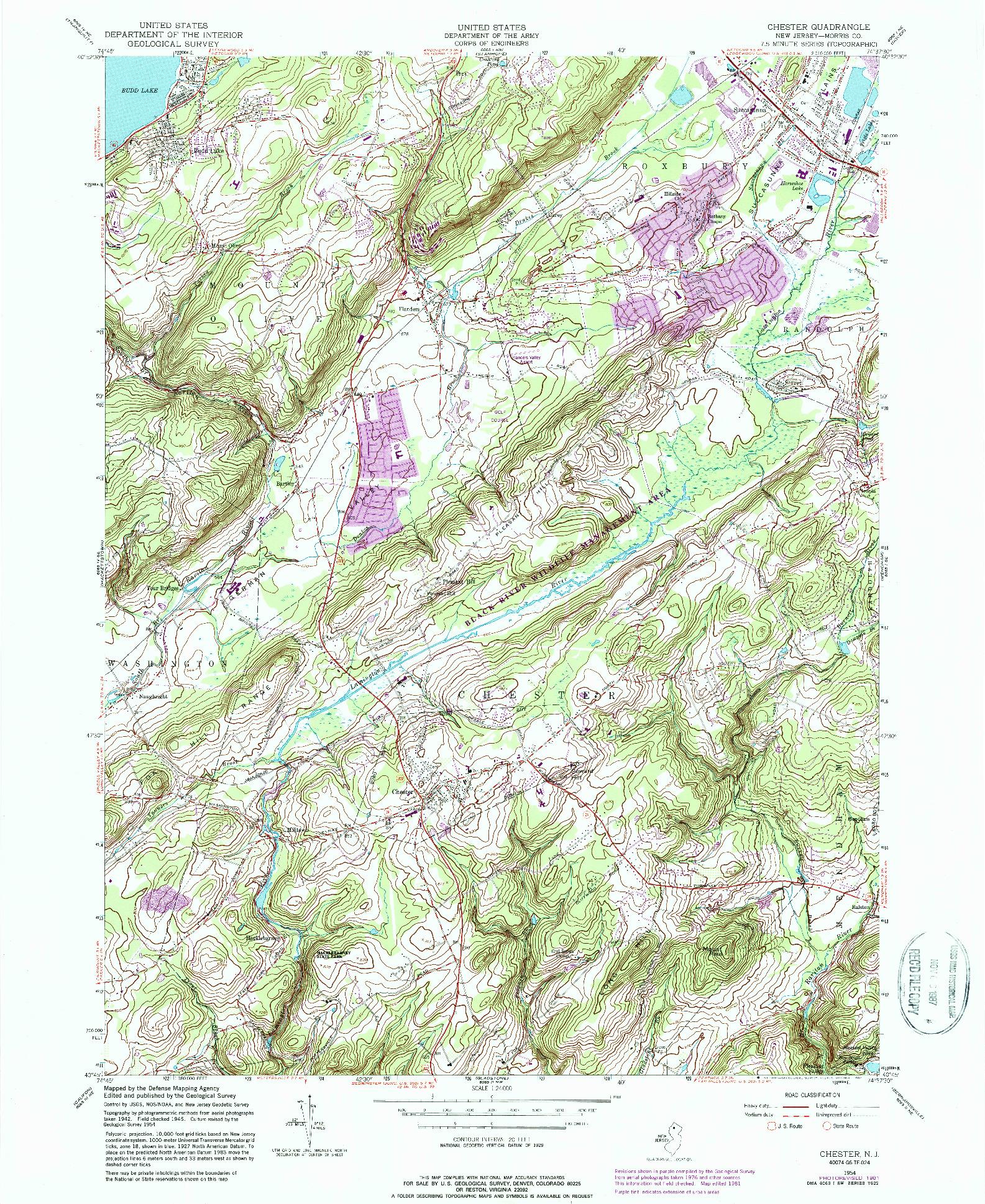 USGS 1:24000-SCALE QUADRANGLE FOR CHESTER, NJ 1954