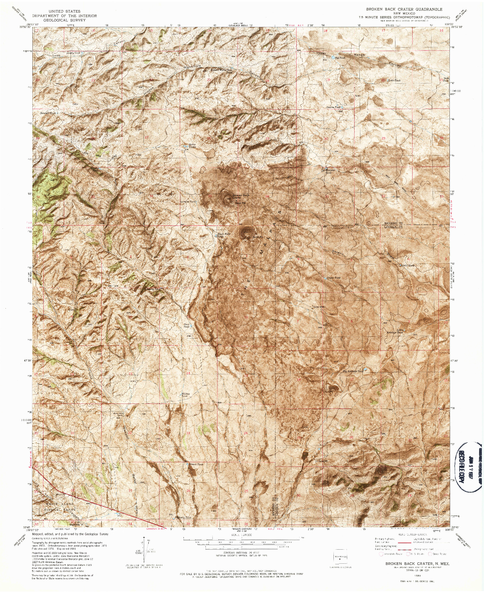 USGS 1:24000-SCALE QUADRANGLE FOR BROKEN BACK CRATER, NM 1981