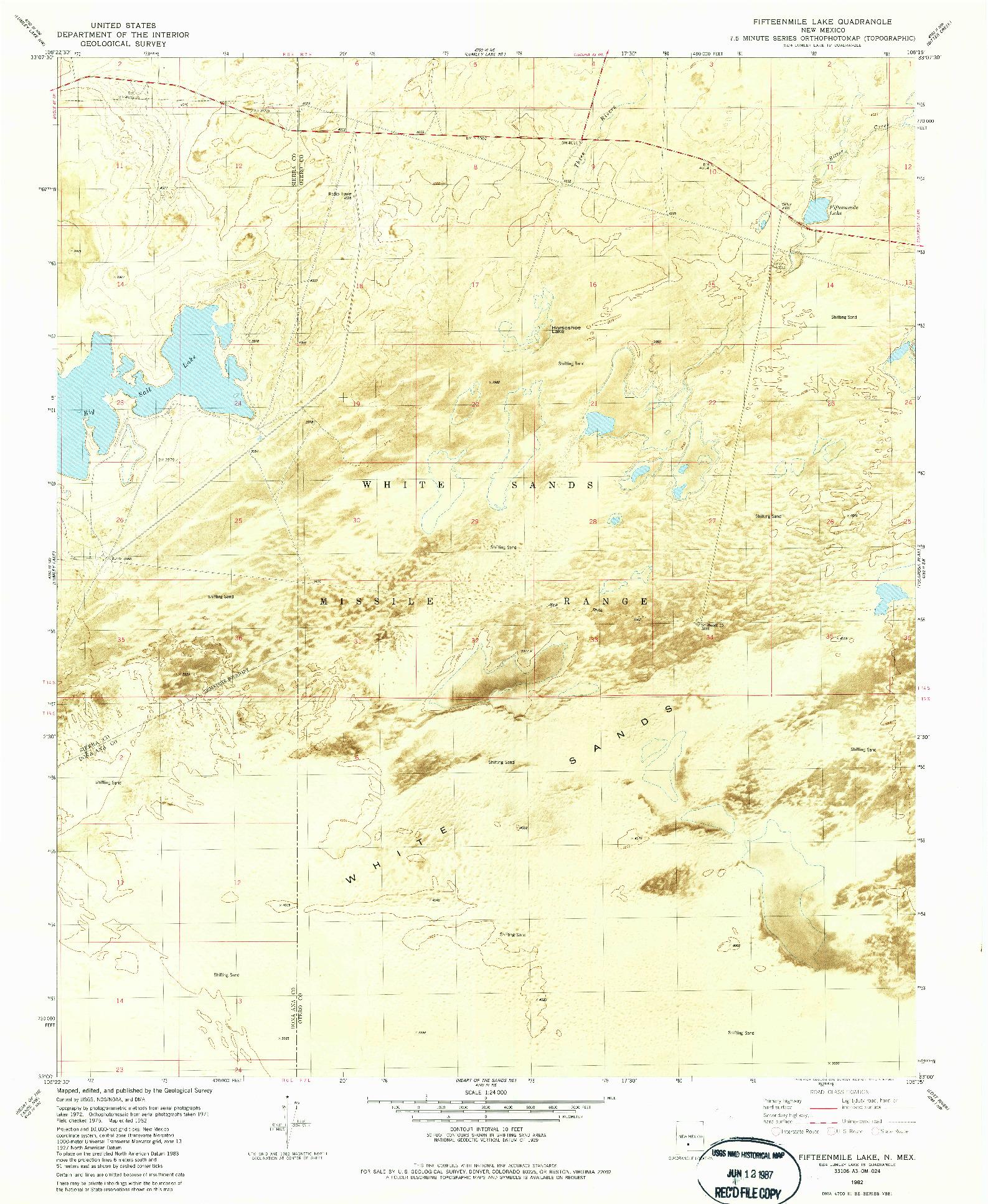USGS 1:24000-SCALE QUADRANGLE FOR FIFTEENMILE LAKE, NM 1982