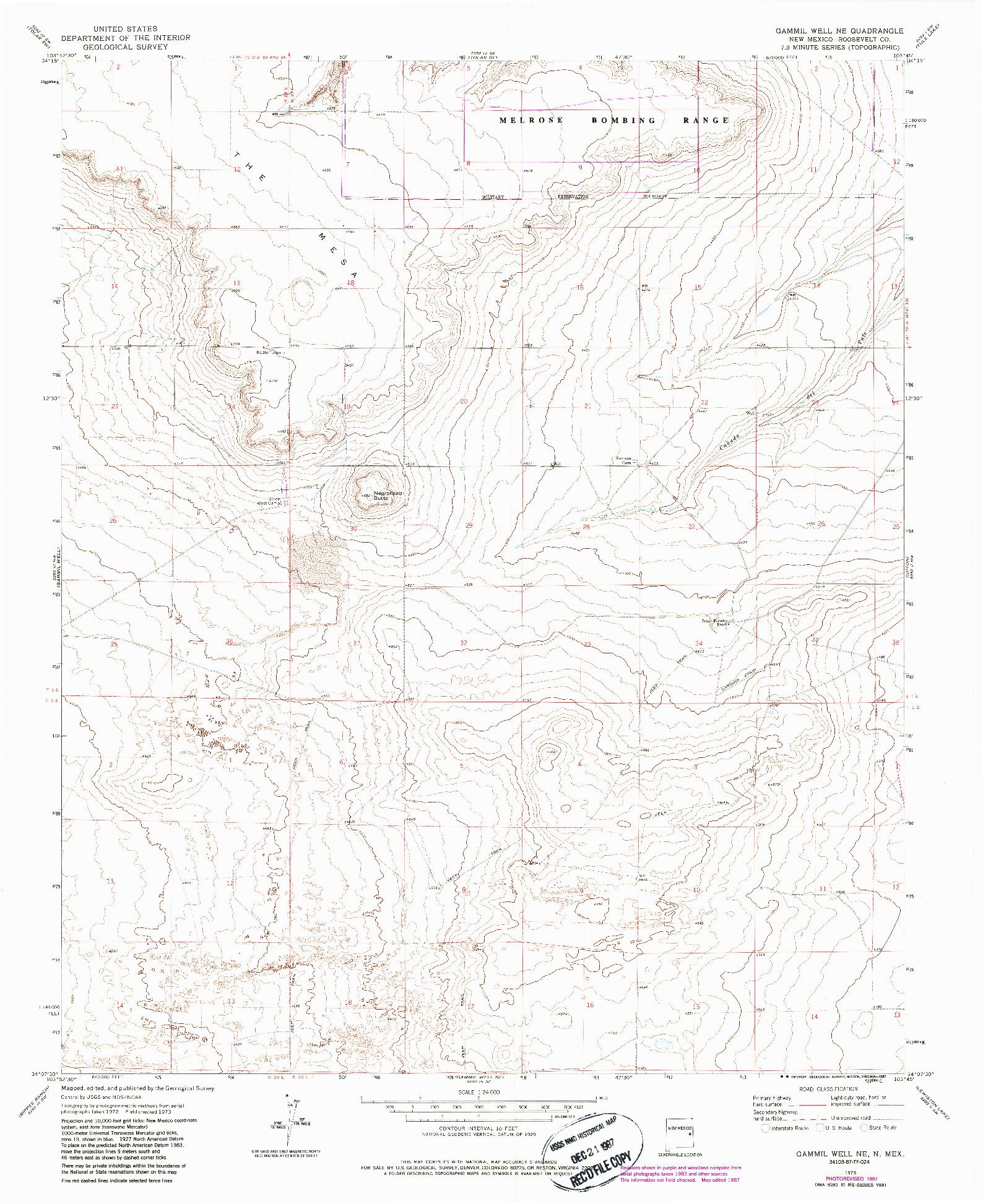 USGS 1:24000-SCALE QUADRANGLE FOR GAMMIL WELL NE, NM 1973