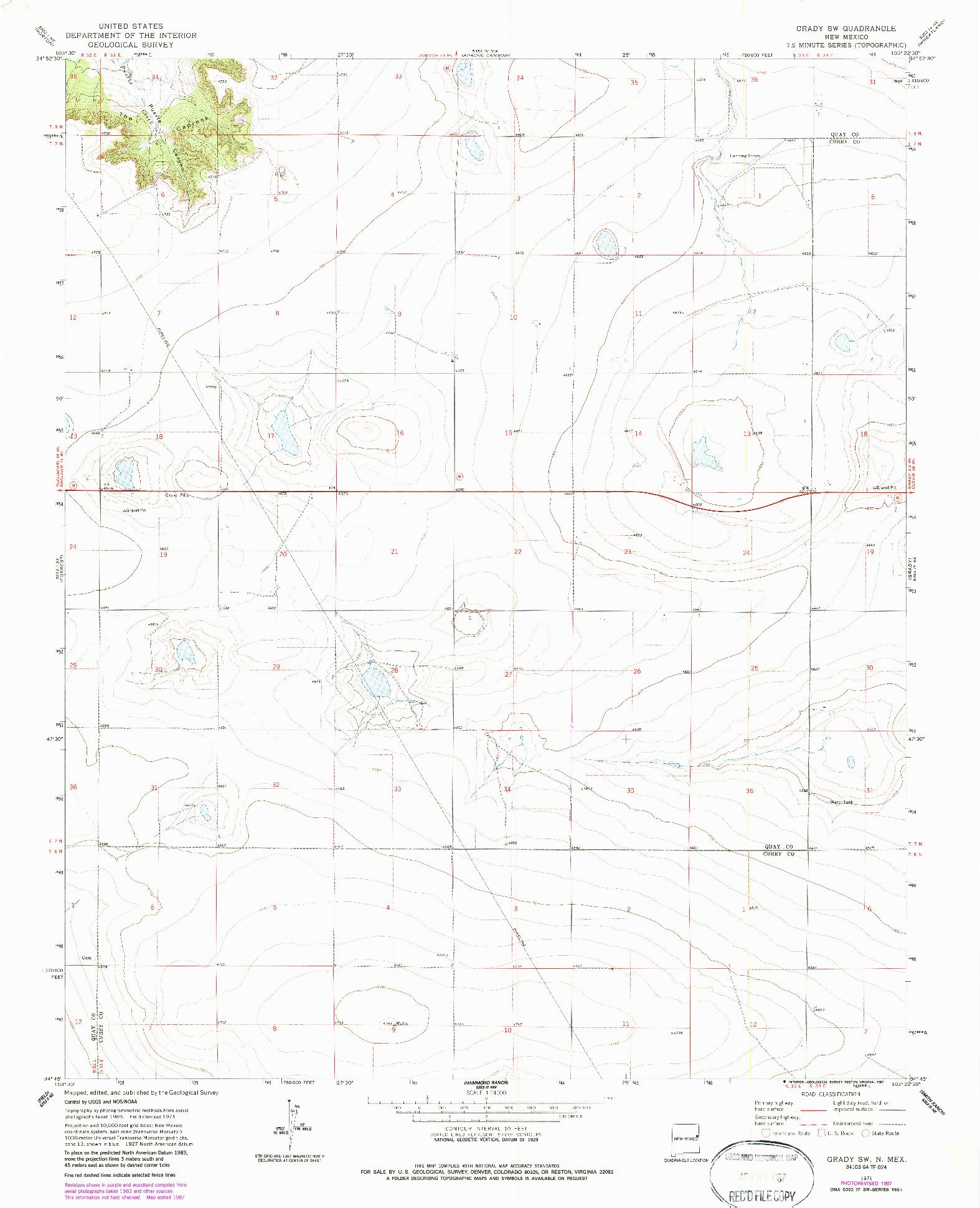 USGS 1:24000-SCALE QUADRANGLE FOR GRADY SW, NM 1971