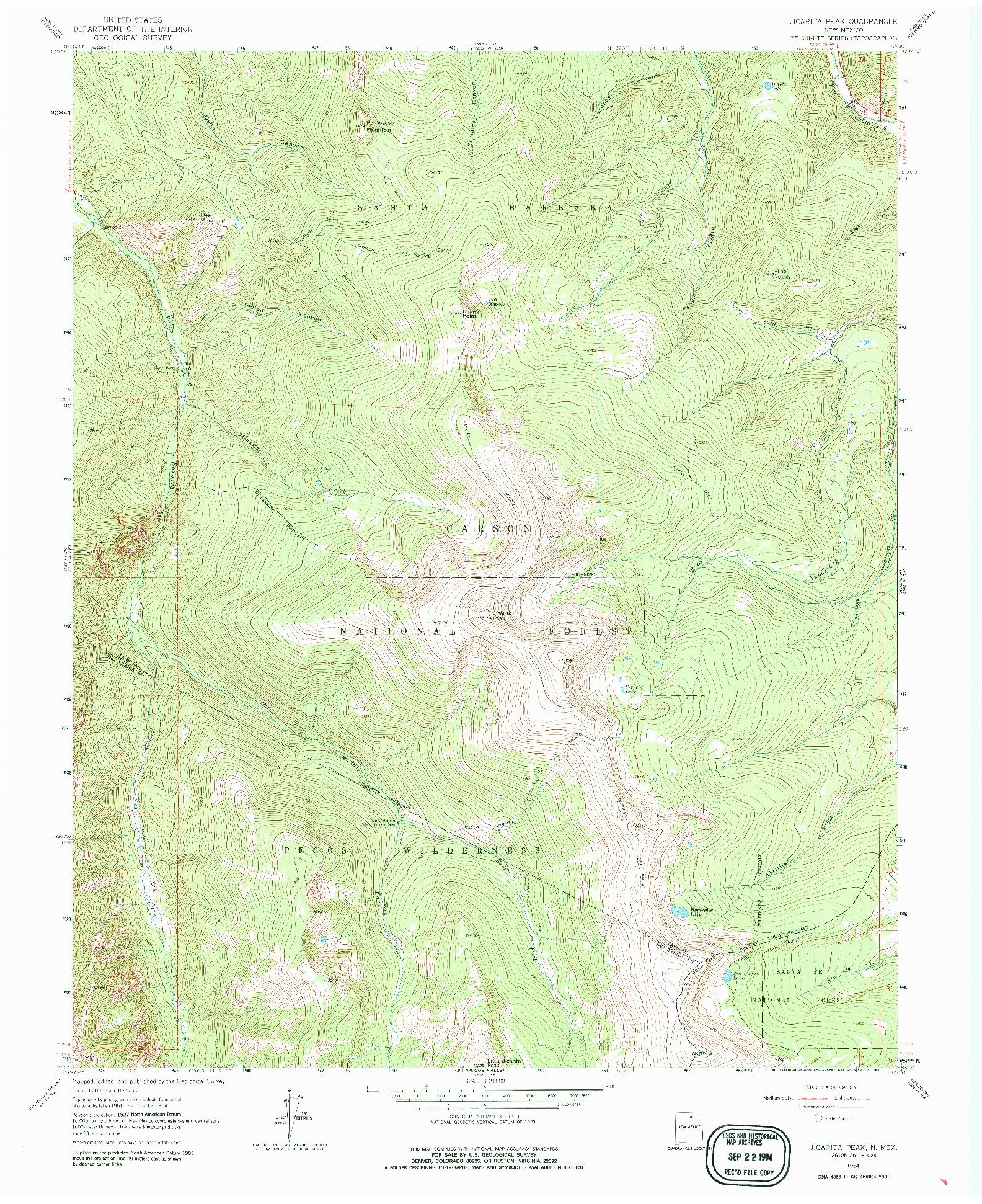 USGS 1:24000-SCALE QUADRANGLE FOR JICARITA PEAK, NM 1964