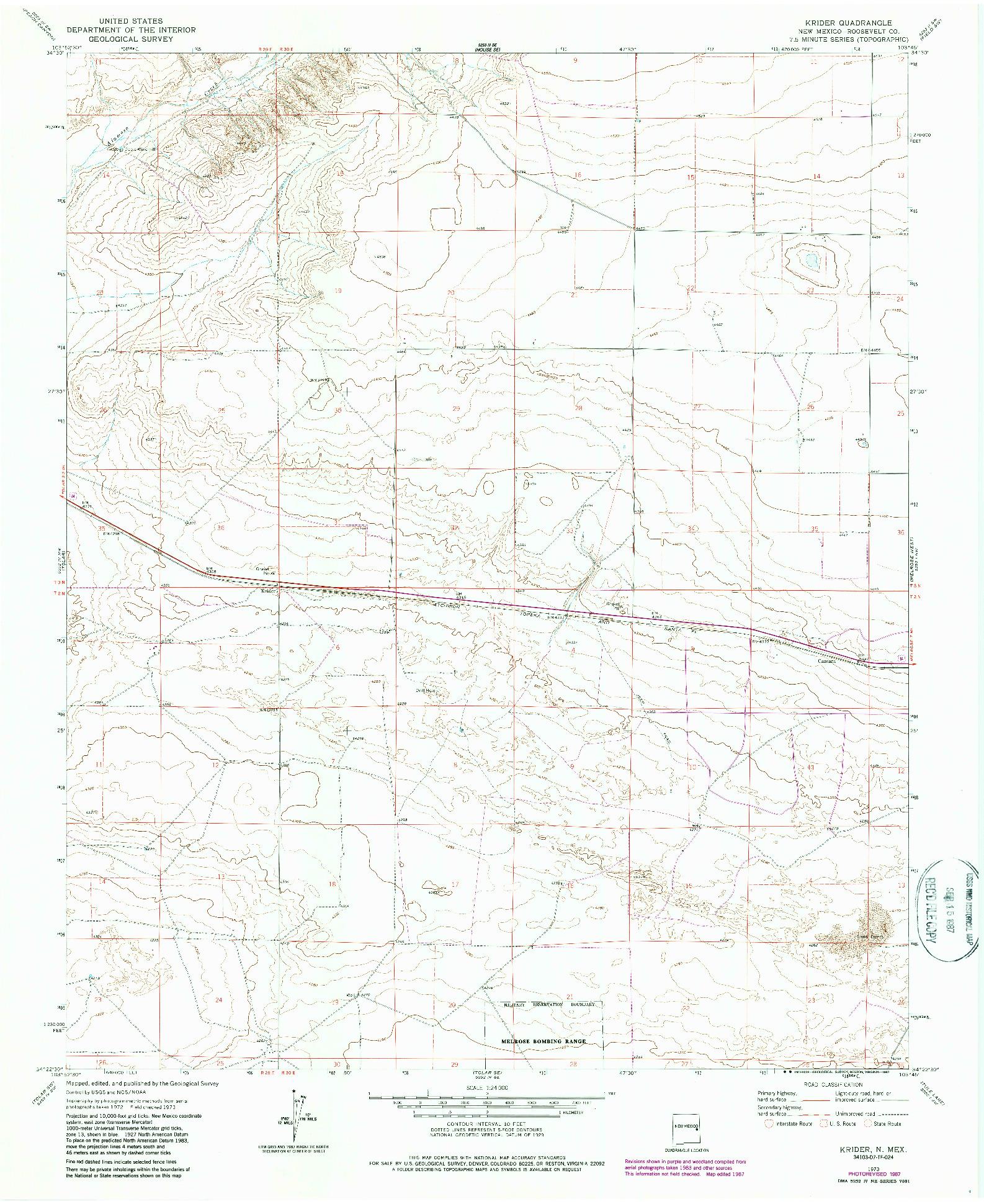 USGS 1:24000-SCALE QUADRANGLE FOR KRIDER, NM 1973