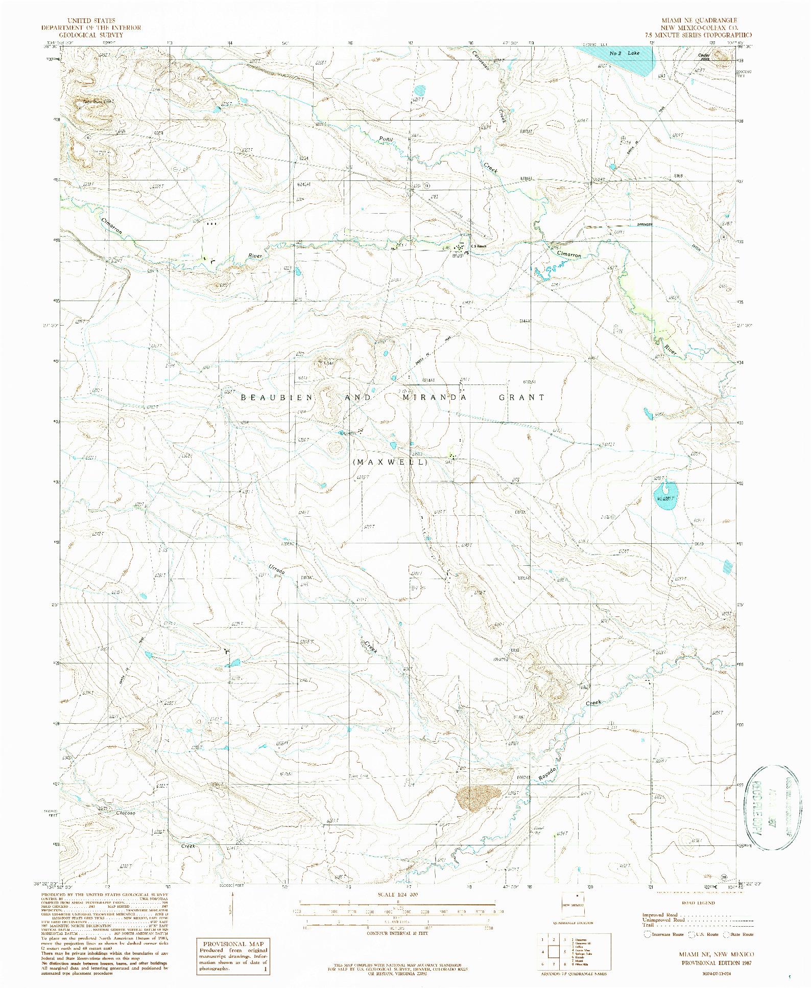USGS 1:24000-SCALE QUADRANGLE FOR MIAMI NE, NM 1987