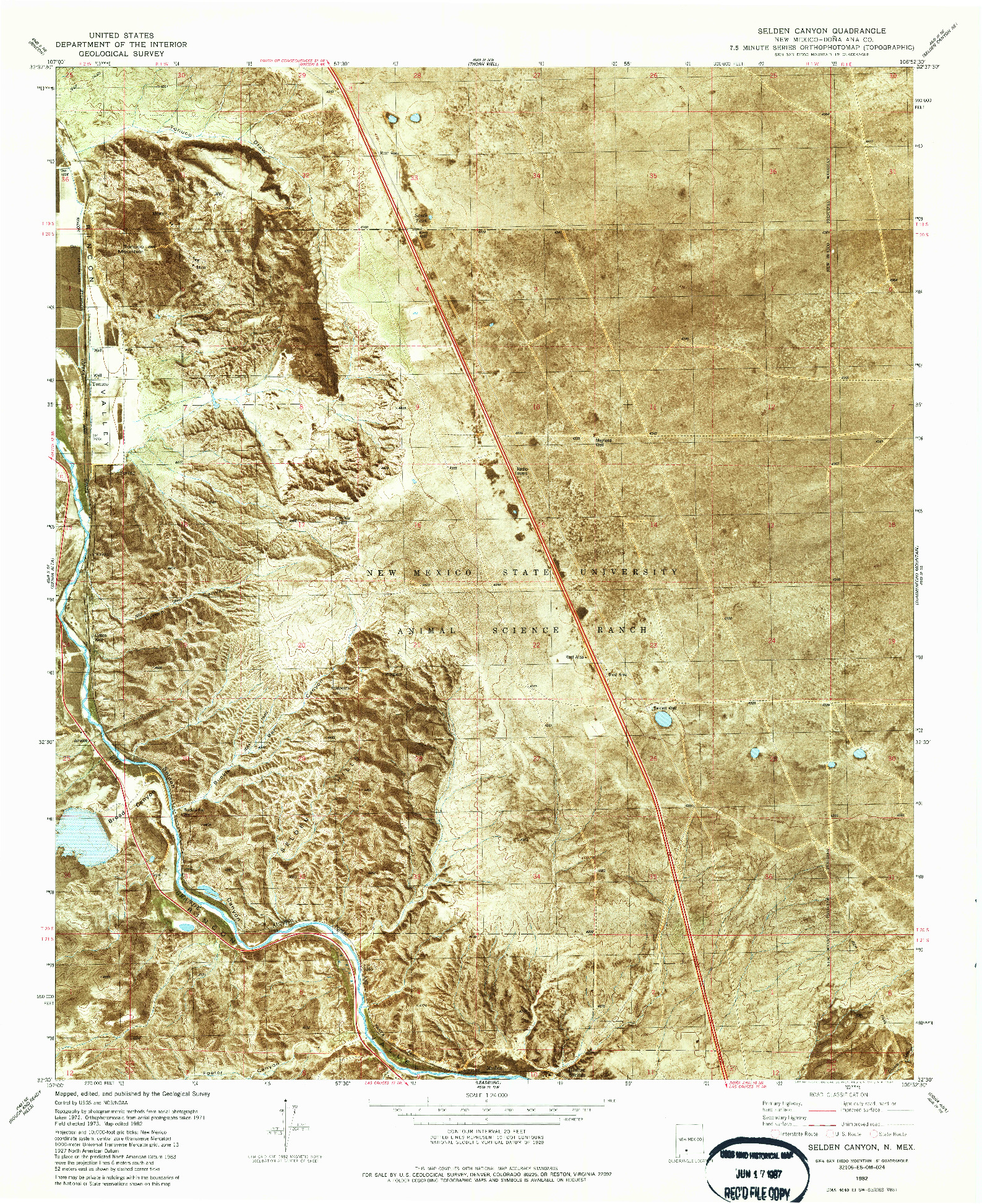 USGS 1:24000-SCALE QUADRANGLE FOR SELDEN CANYON, NM 1982
