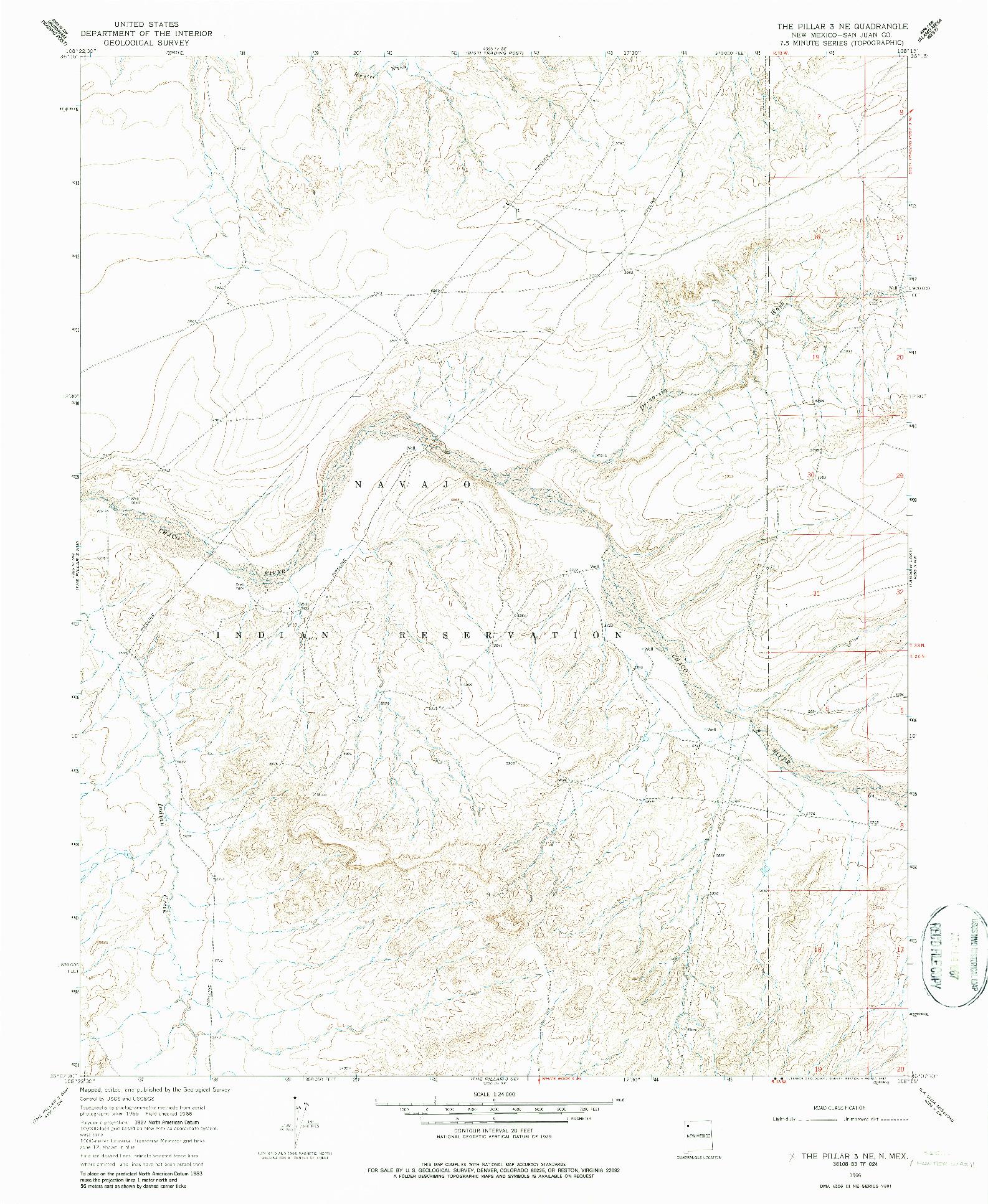 USGS 1:24000-SCALE QUADRANGLE FOR THE PILLAR 3 NE, NM 1966