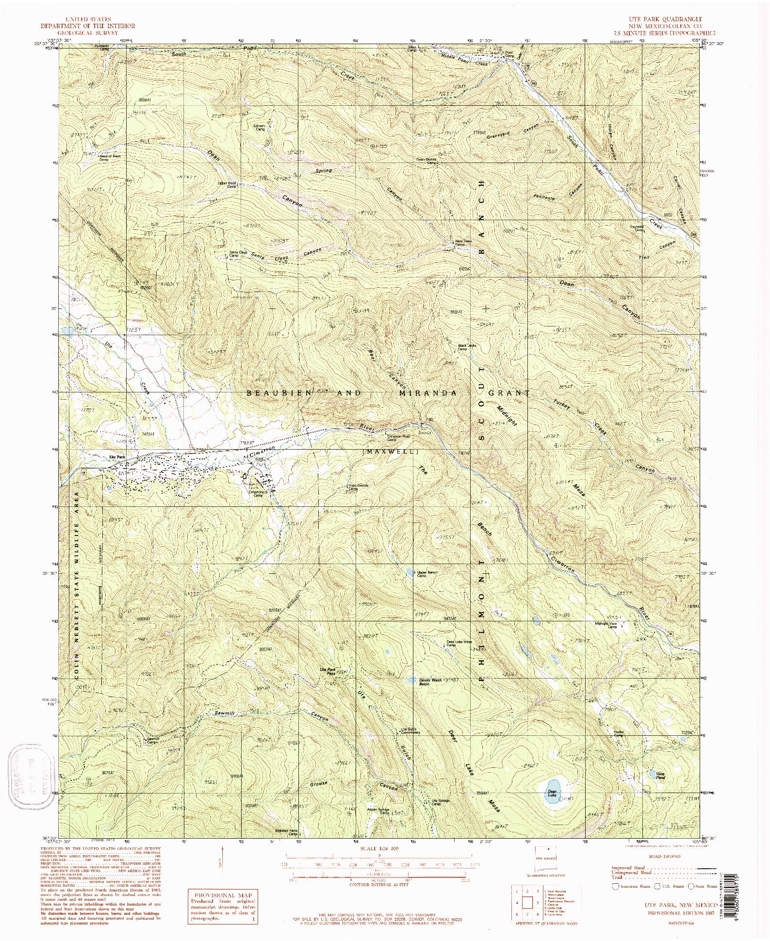 USGS 1:24000-SCALE QUADRANGLE FOR UTE PARK, NM 1987