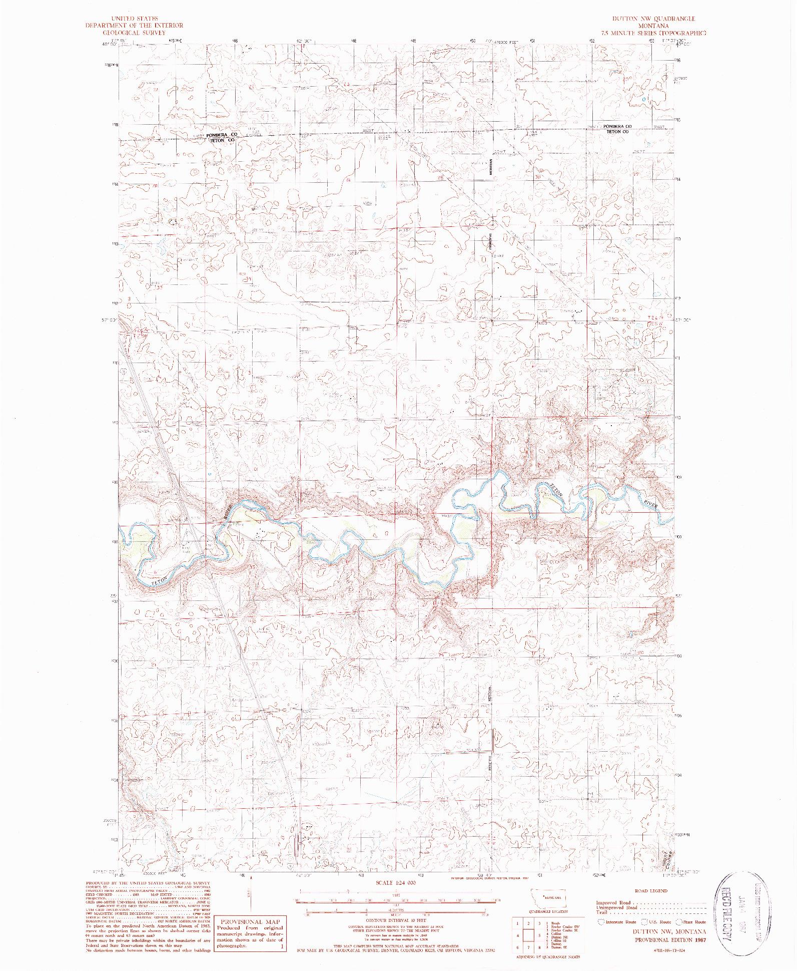 USGS 1:24000-SCALE QUADRANGLE FOR DUTTON NW, MT 1987