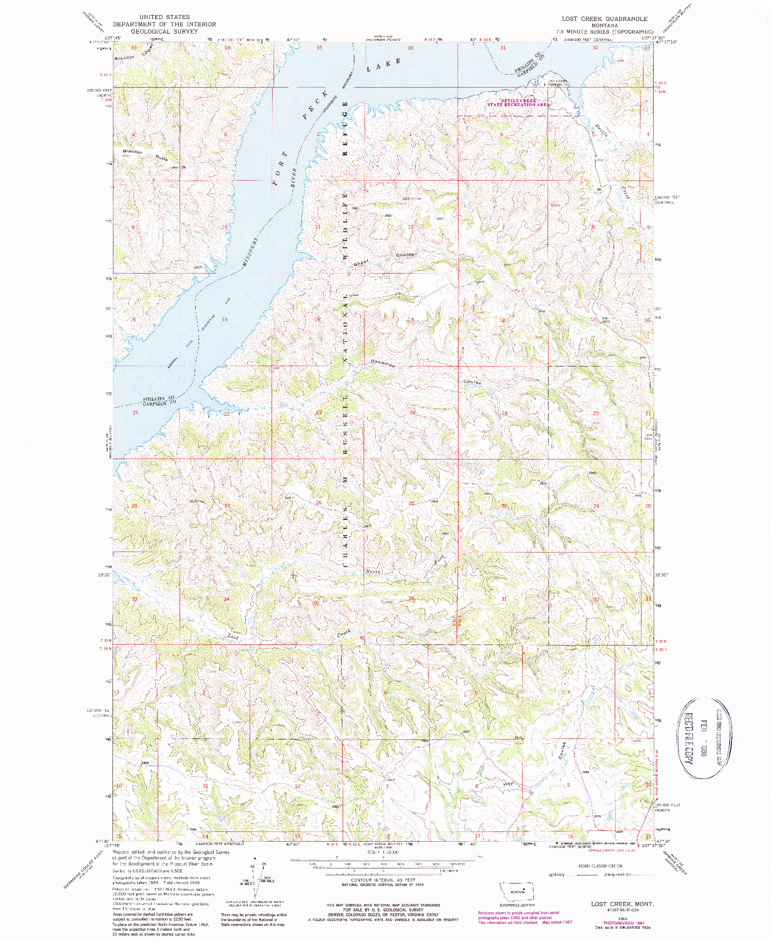 USGS 1:24000-SCALE QUADRANGLE FOR LOST CREEK, MT 1965