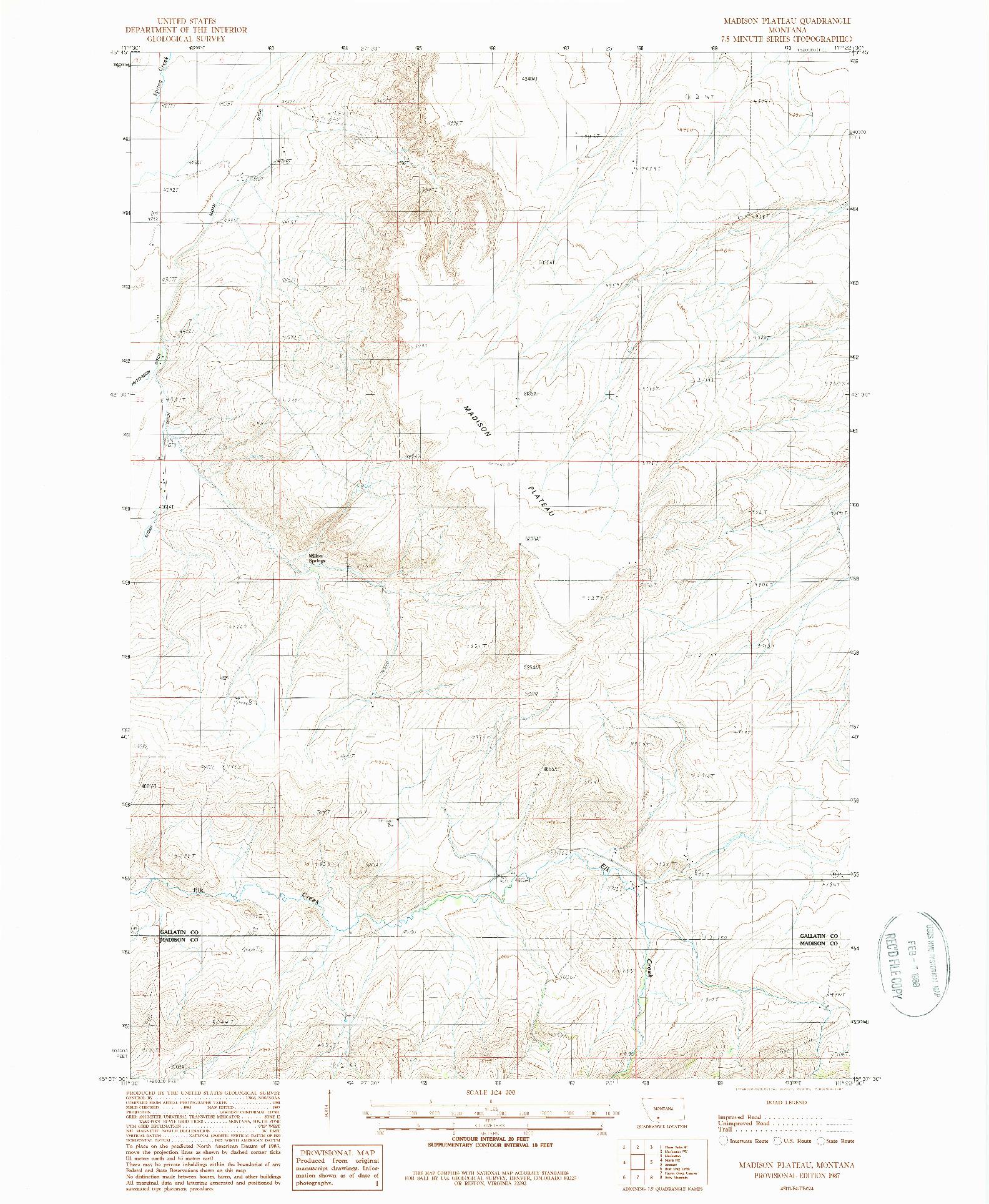 USGS 1:24000-SCALE QUADRANGLE FOR MADISON PLATEAU, MT 1987