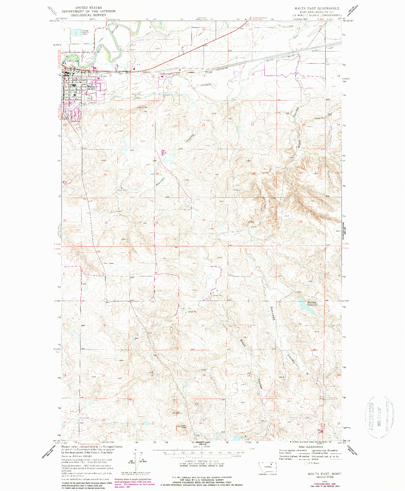 USGS 1:24000-SCALE QUADRANGLE FOR MALTA EAST, MT 1968