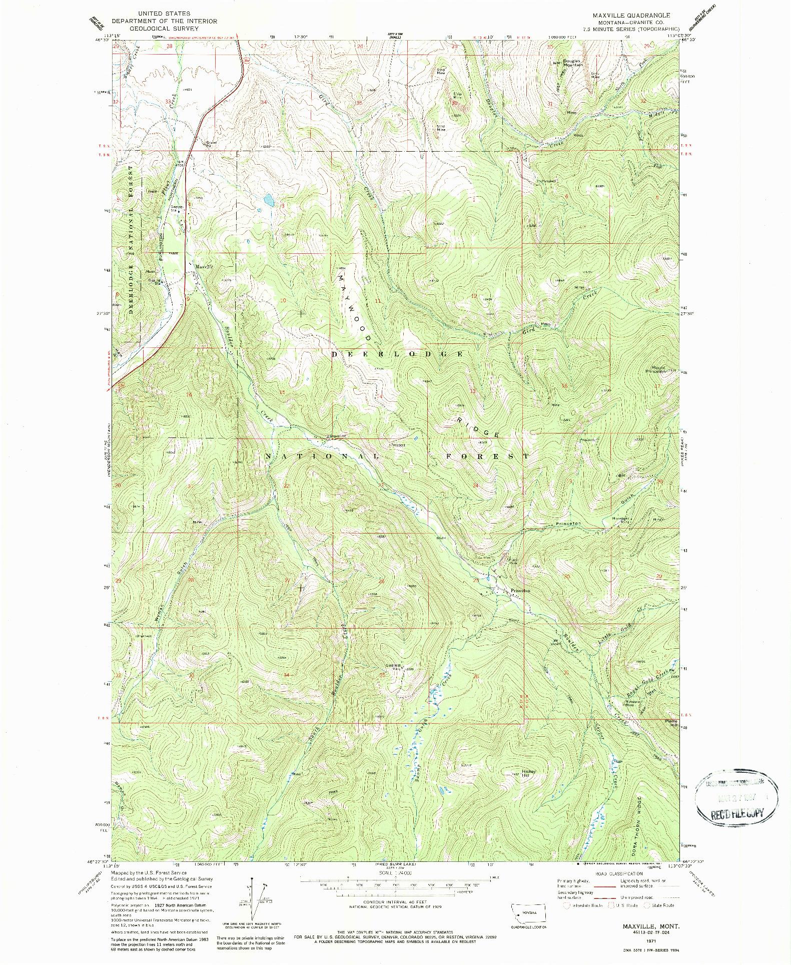 USGS 1:24000-SCALE QUADRANGLE FOR MAXVILLE, MT 1971