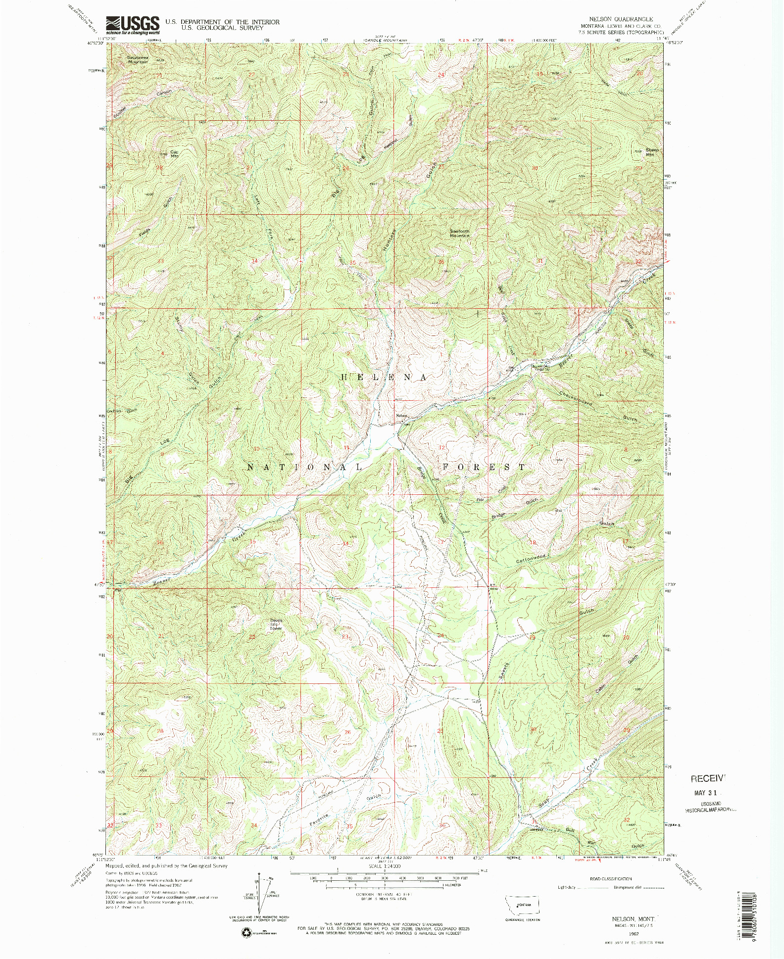 USGS 1:24000-SCALE QUADRANGLE FOR NELSON, MT 1962