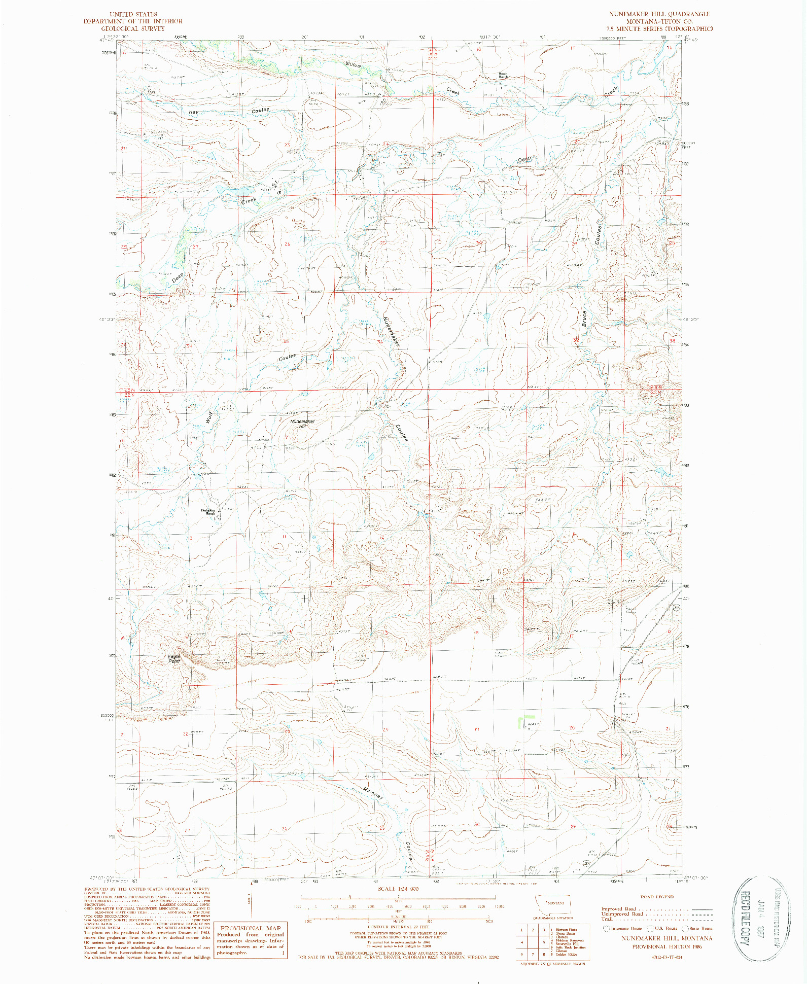 USGS 1:24000-SCALE QUADRANGLE FOR NUNEMAKER HILL, MT 1986