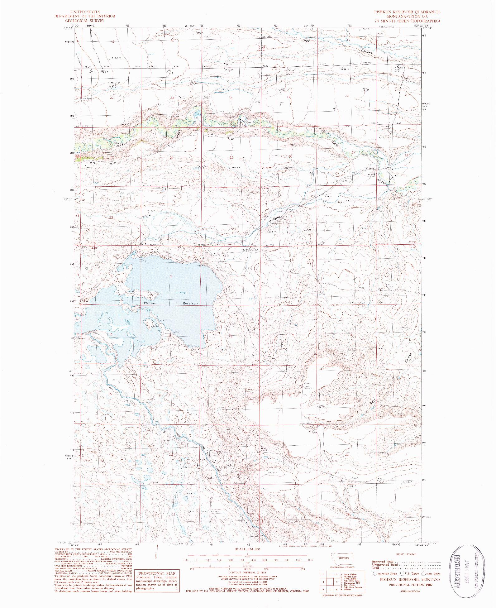 USGS 1:24000-SCALE QUADRANGLE FOR PISHKUN RESERVOIR, MT 1987