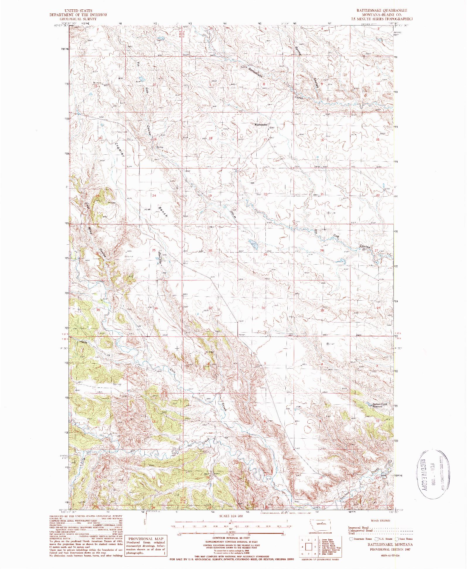 USGS 1:24000-SCALE QUADRANGLE FOR RATTLESNAKE, MT 1987