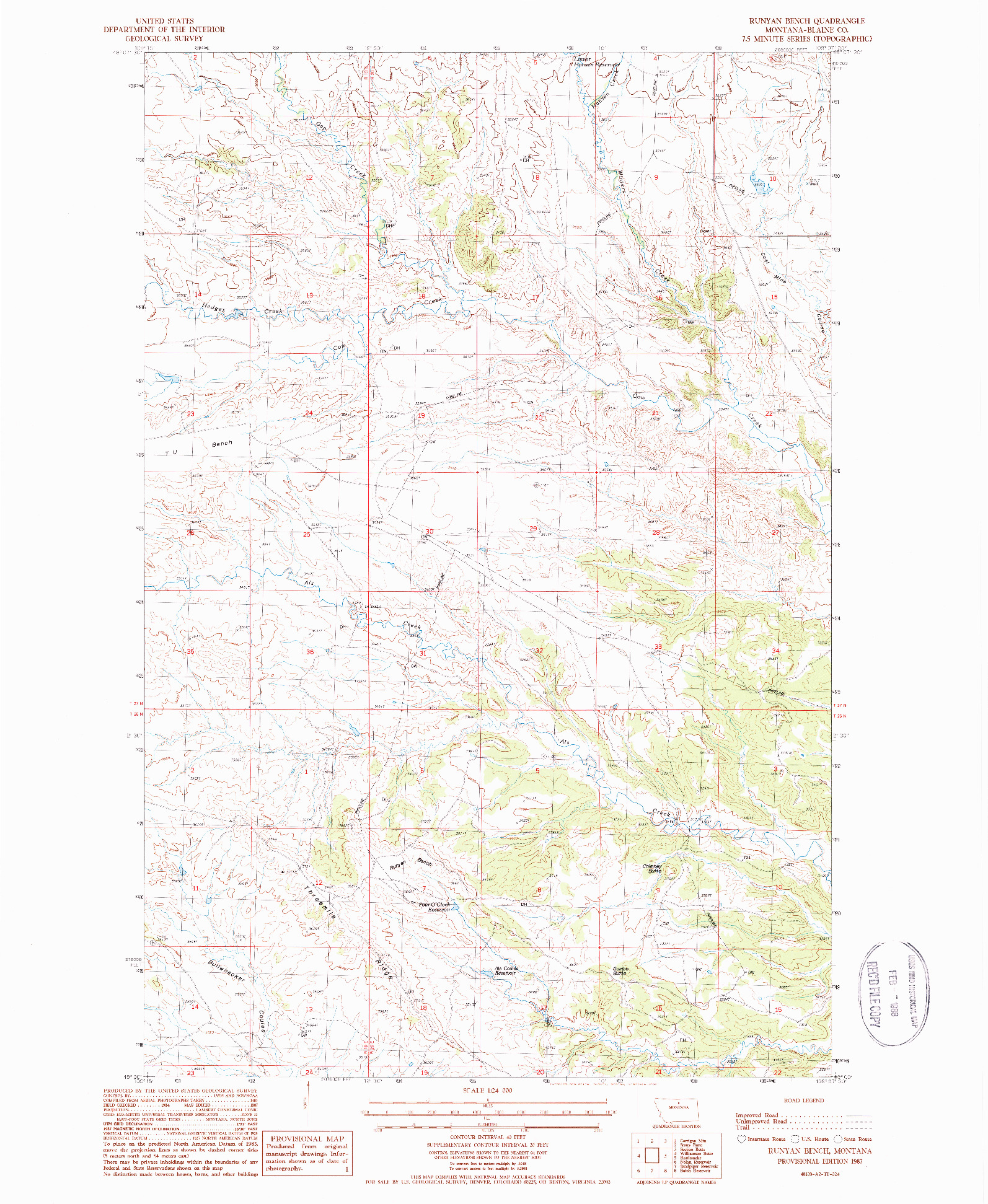 USGS 1:24000-SCALE QUADRANGLE FOR RUNYAN BENCH, MT 1987