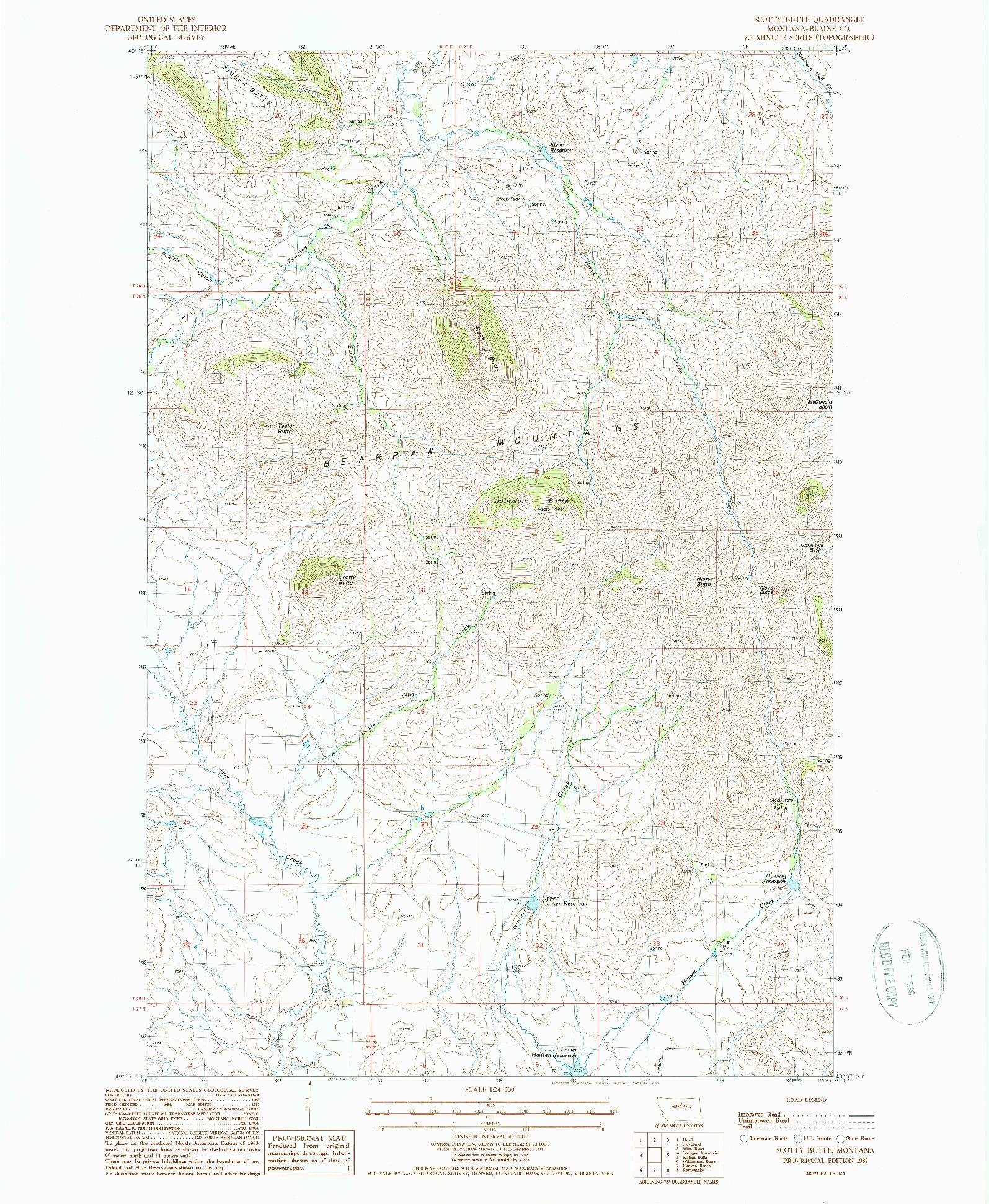 USGS 1:24000-SCALE QUADRANGLE FOR SCOTTY BUTTE, MT 1987