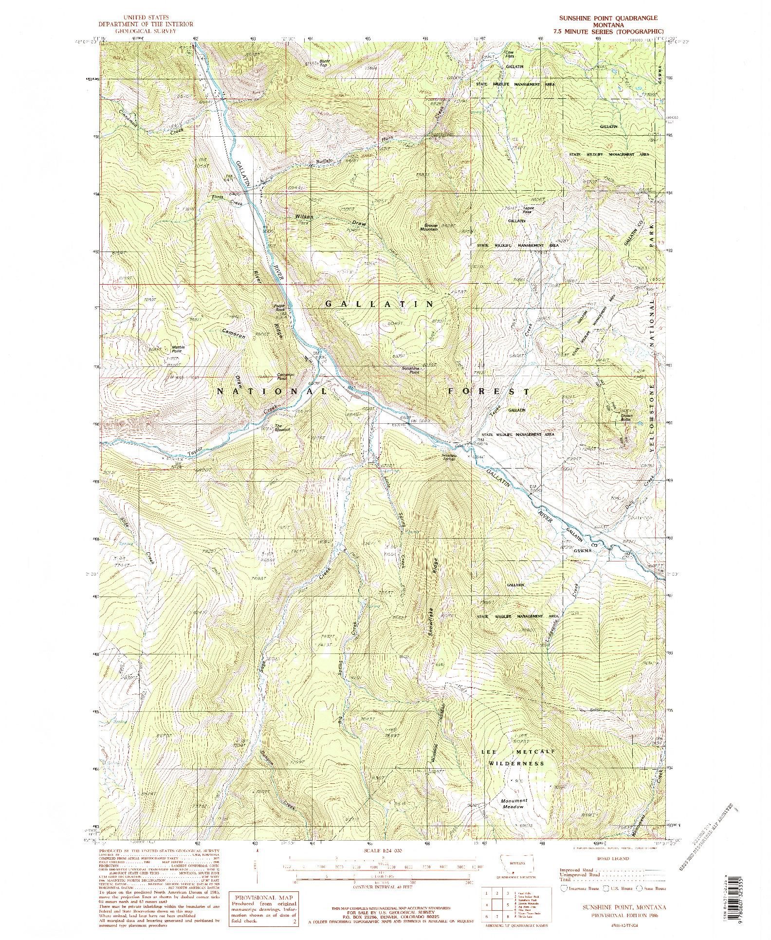USGS 1:24000-SCALE QUADRANGLE FOR SUNSHINE POINT, MT 1986