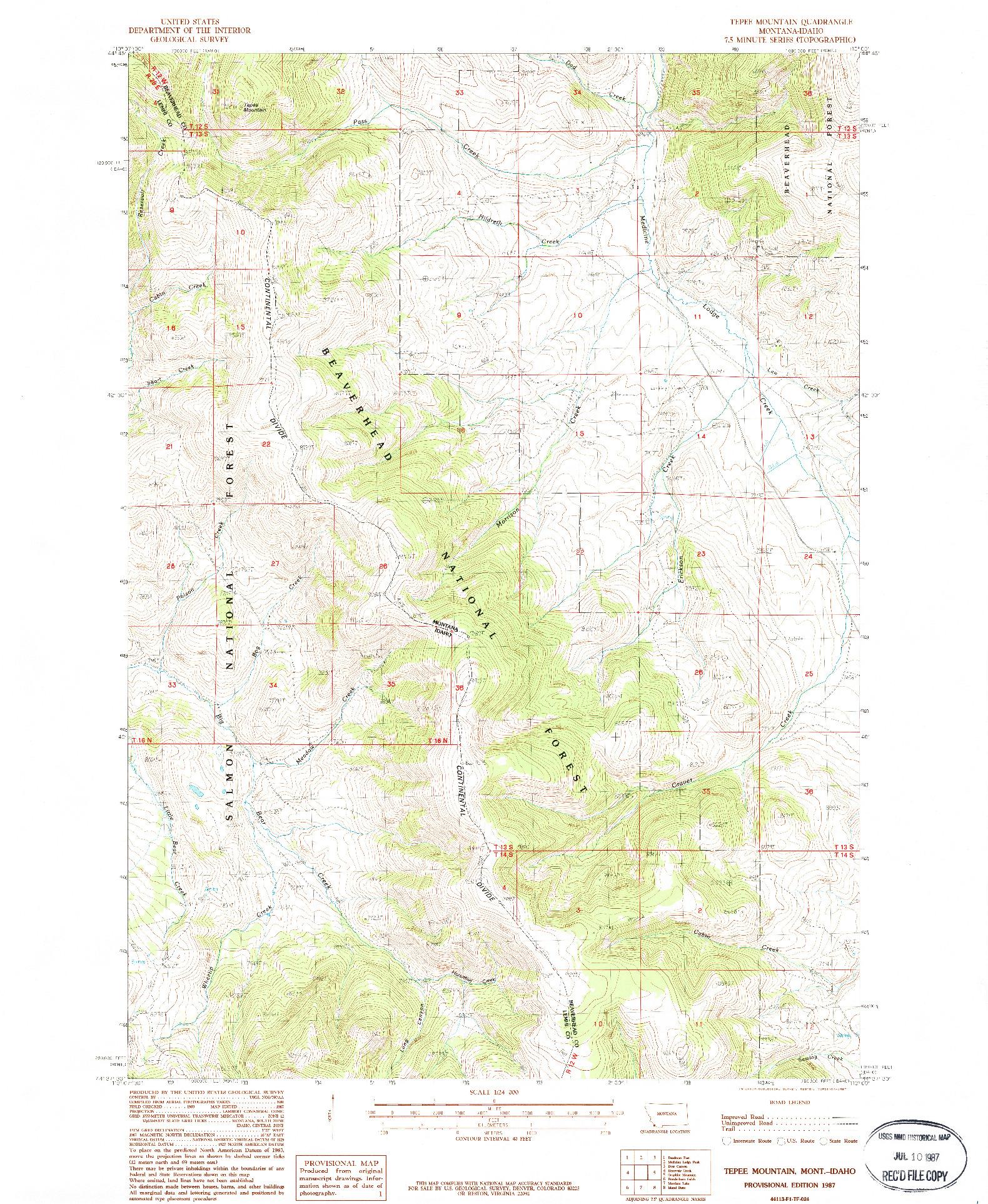 USGS 1:24000-SCALE QUADRANGLE FOR TEPEE MOUNTAIN, MT 1987