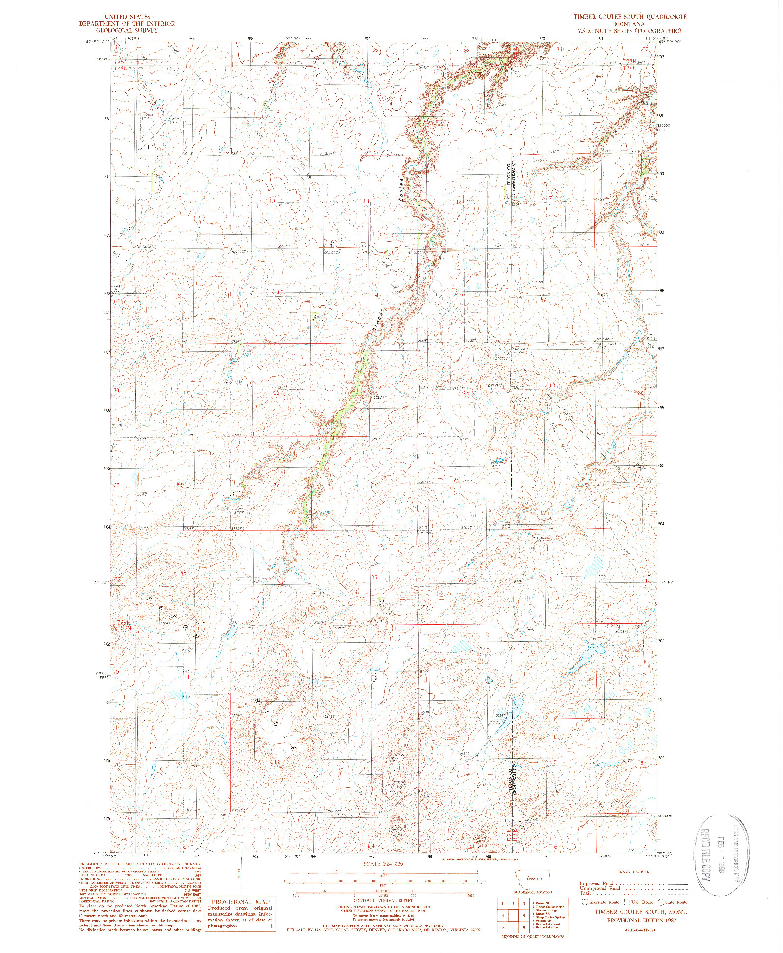 USGS 1:24000-SCALE QUADRANGLE FOR TIMBER COULEE SOUTH, MT 1987