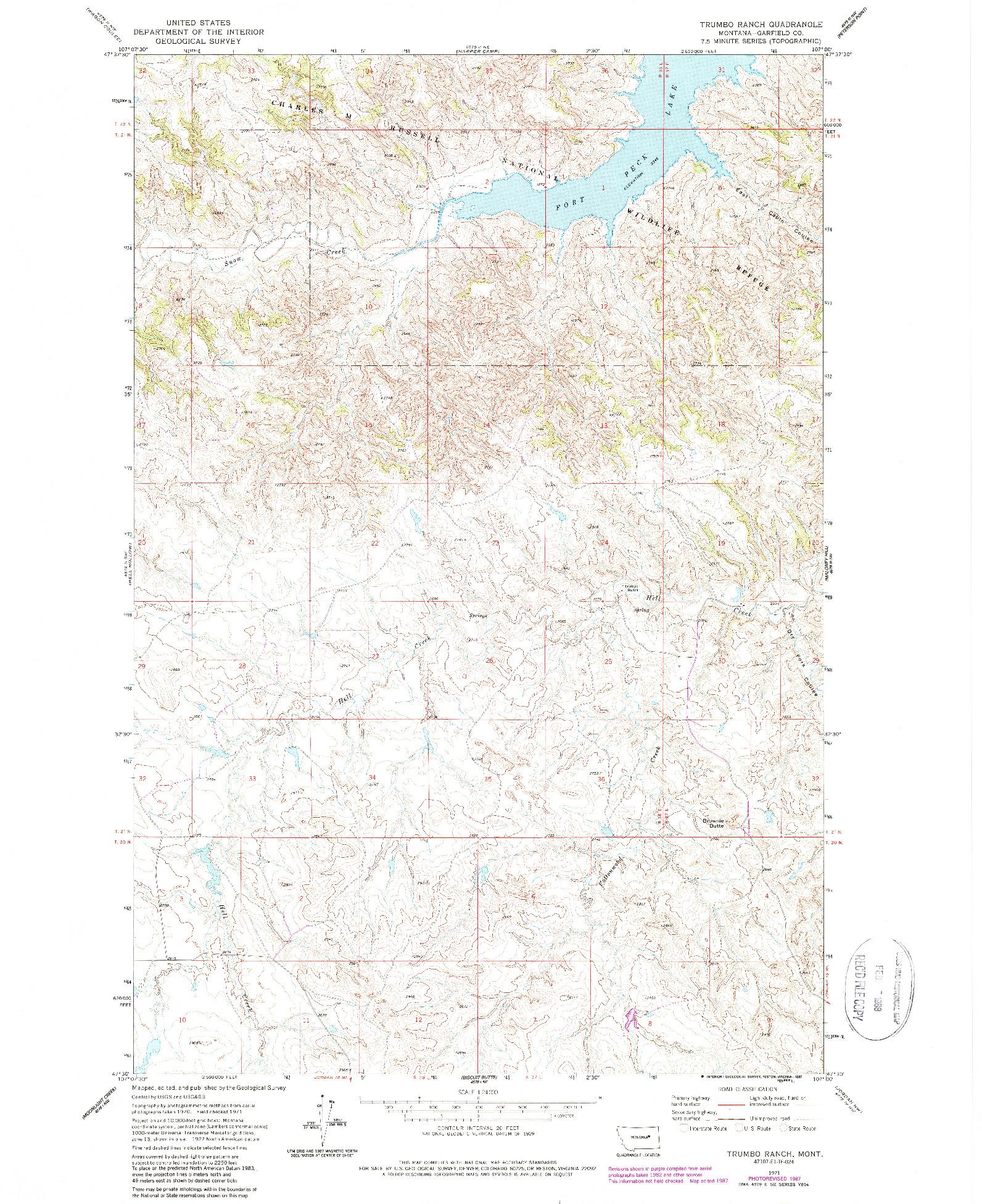 USGS 1:24000-SCALE QUADRANGLE FOR TRUMBO RANCH, MT 1971