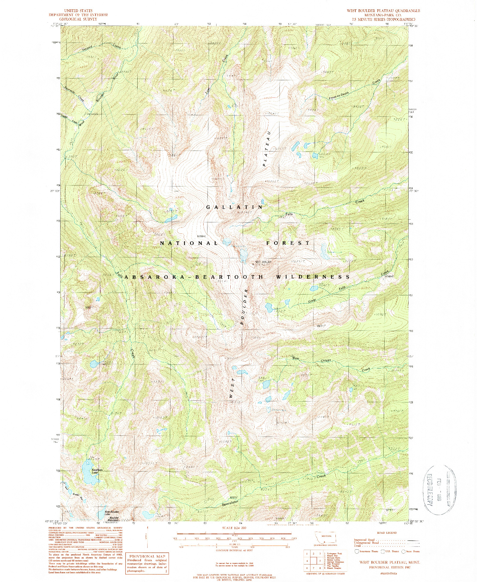 USGS 1:24000-SCALE QUADRANGLE FOR WEST BOULDER PLATEAU, MT 1987