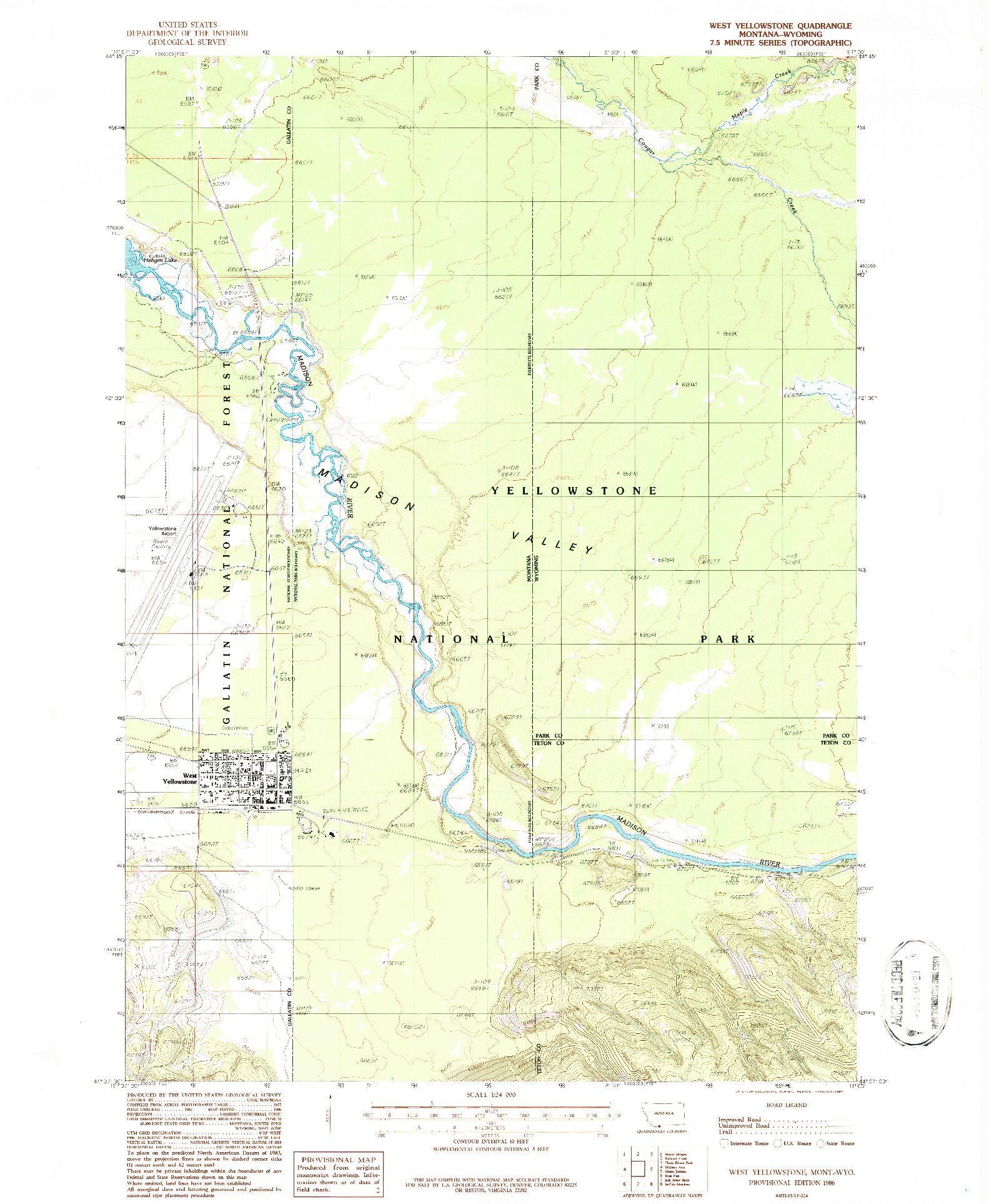 USGS 1:24000-SCALE QUADRANGLE FOR WEST YELLOWSTONE, MT 1986