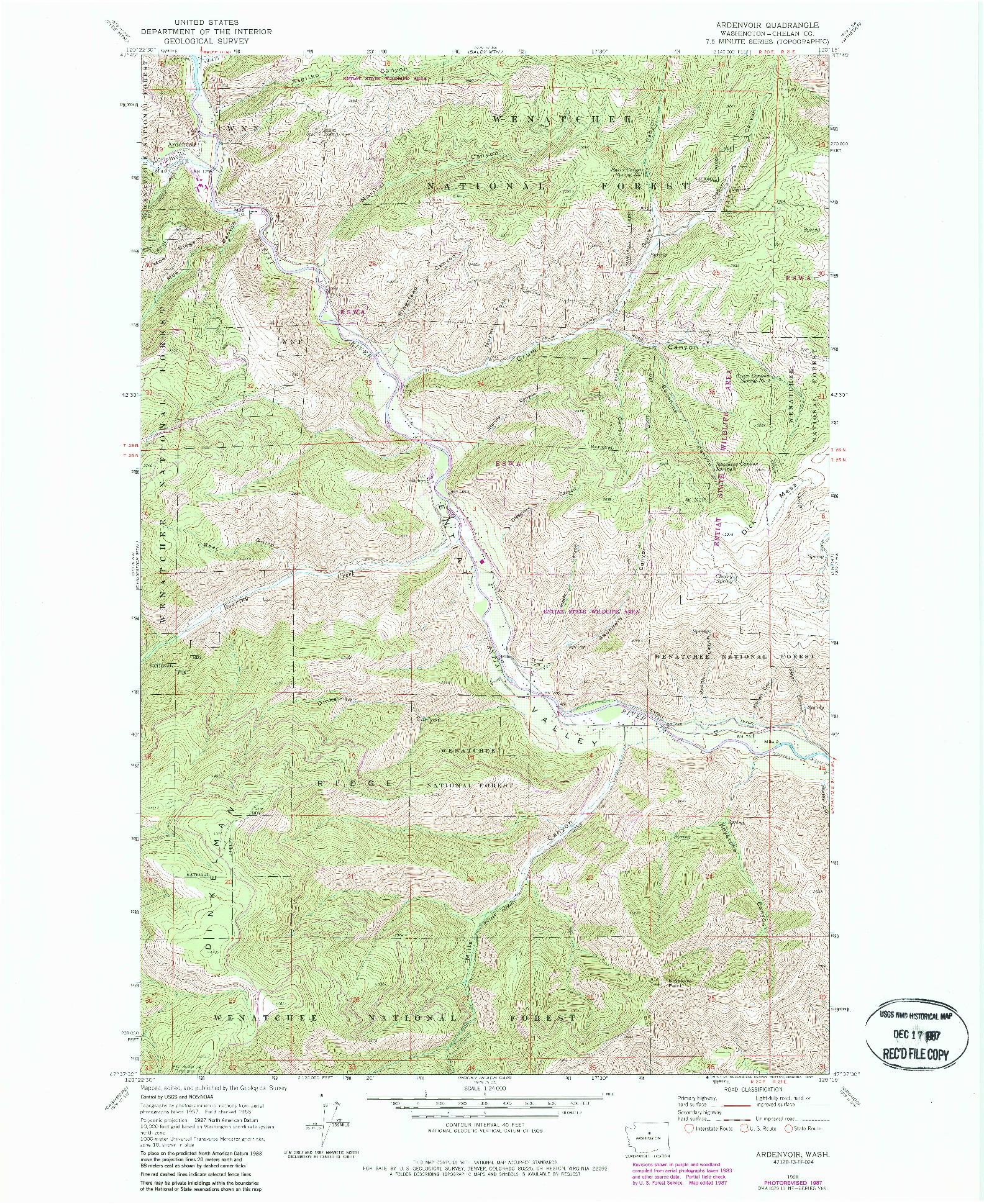USGS 1:24000-SCALE QUADRANGLE FOR ARDENVOIR, WA 1968