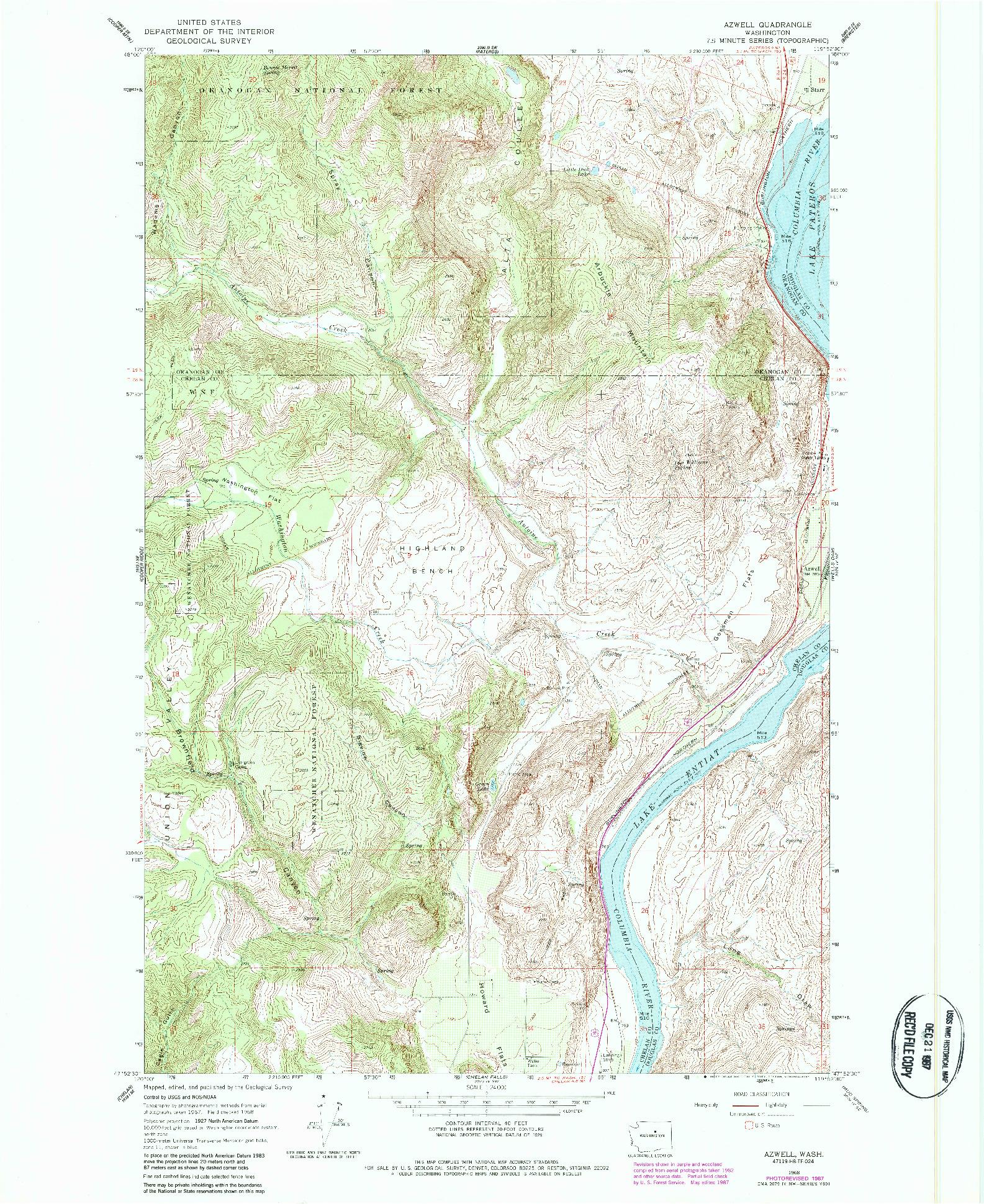 USGS 1:24000-SCALE QUADRANGLE FOR AZWELL, WA 1968