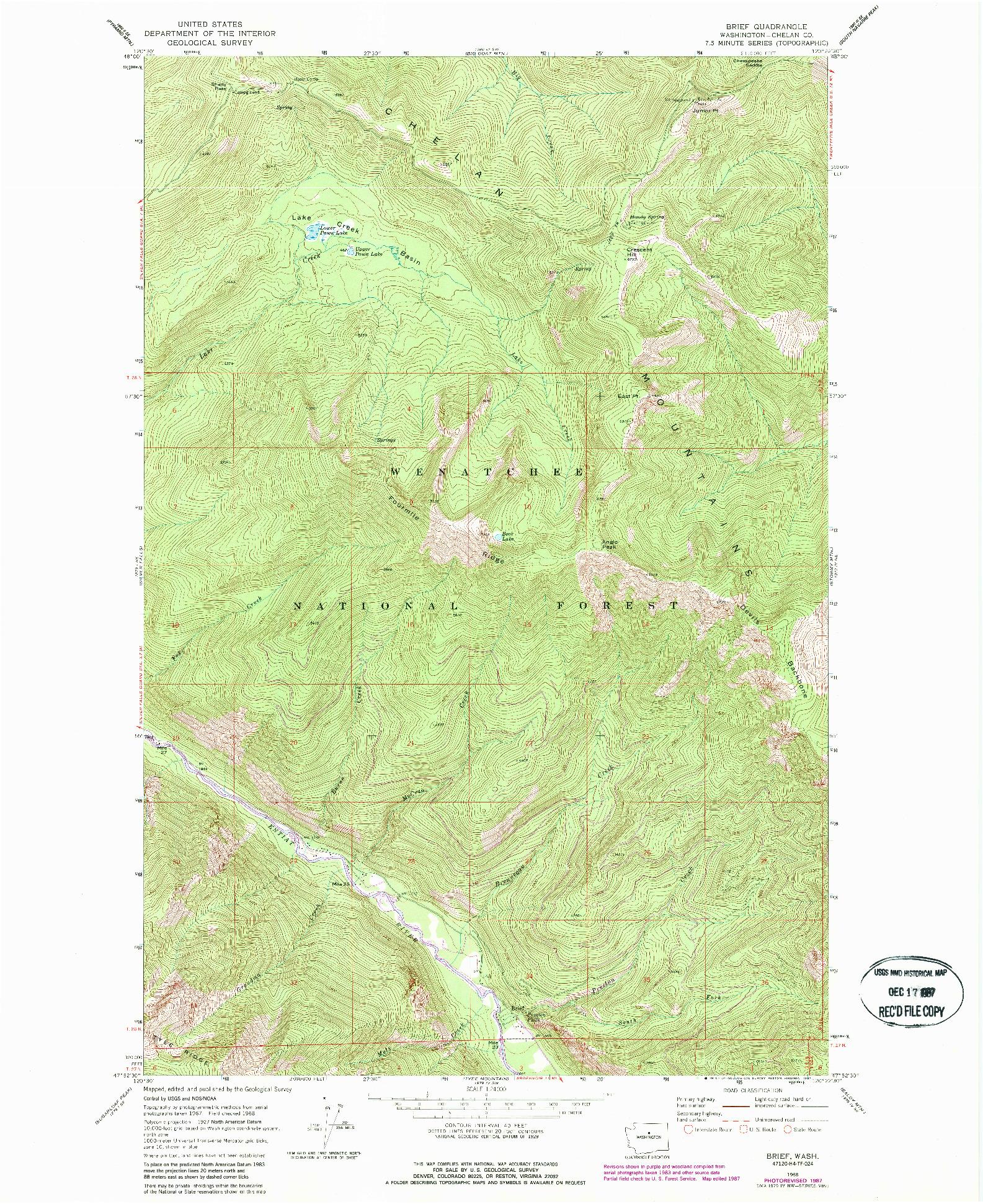 USGS 1:24000-SCALE QUADRANGLE FOR BRIEF, WA 1968