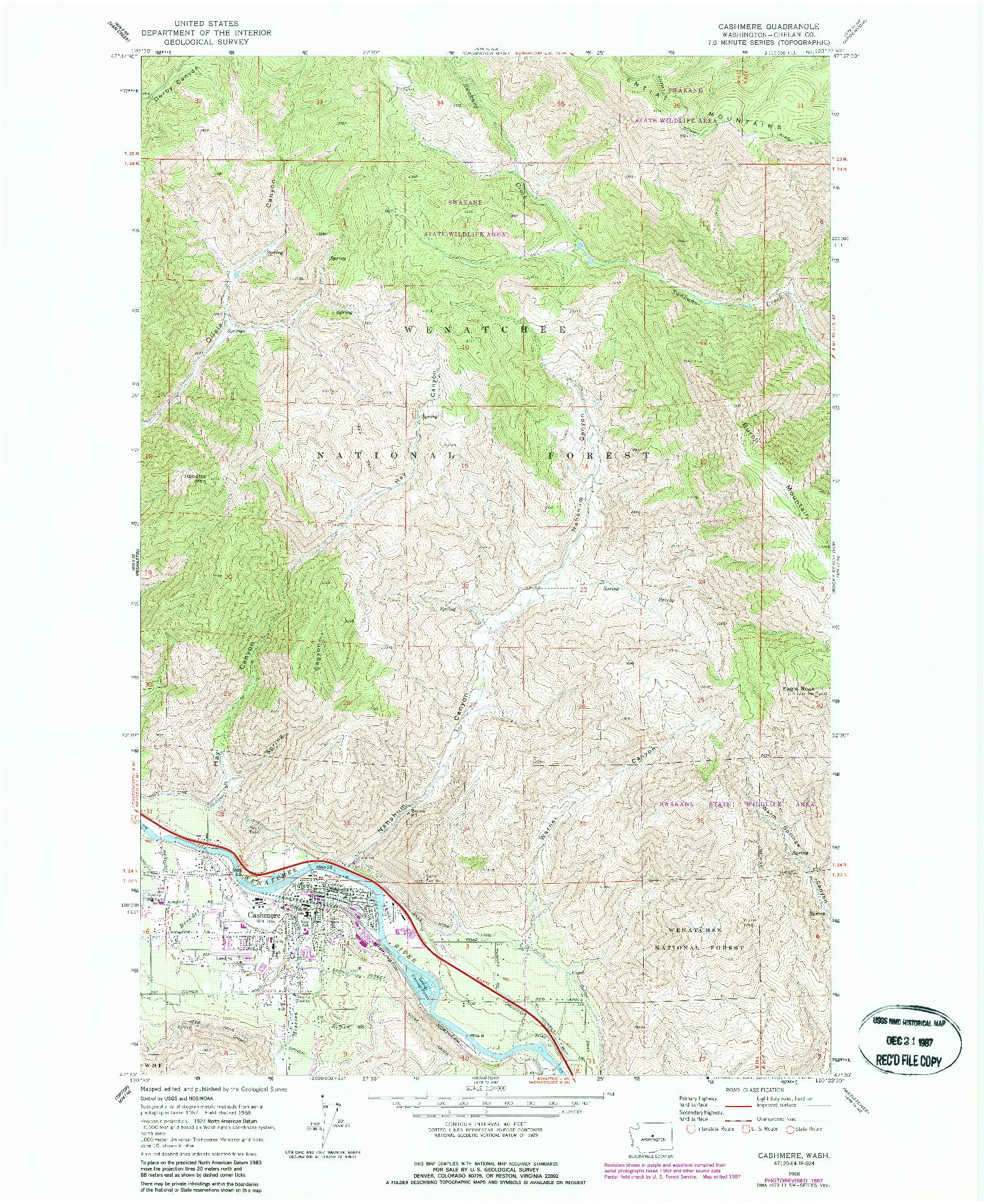 USGS 1:24000-SCALE QUADRANGLE FOR CASHMERE, WA 1968