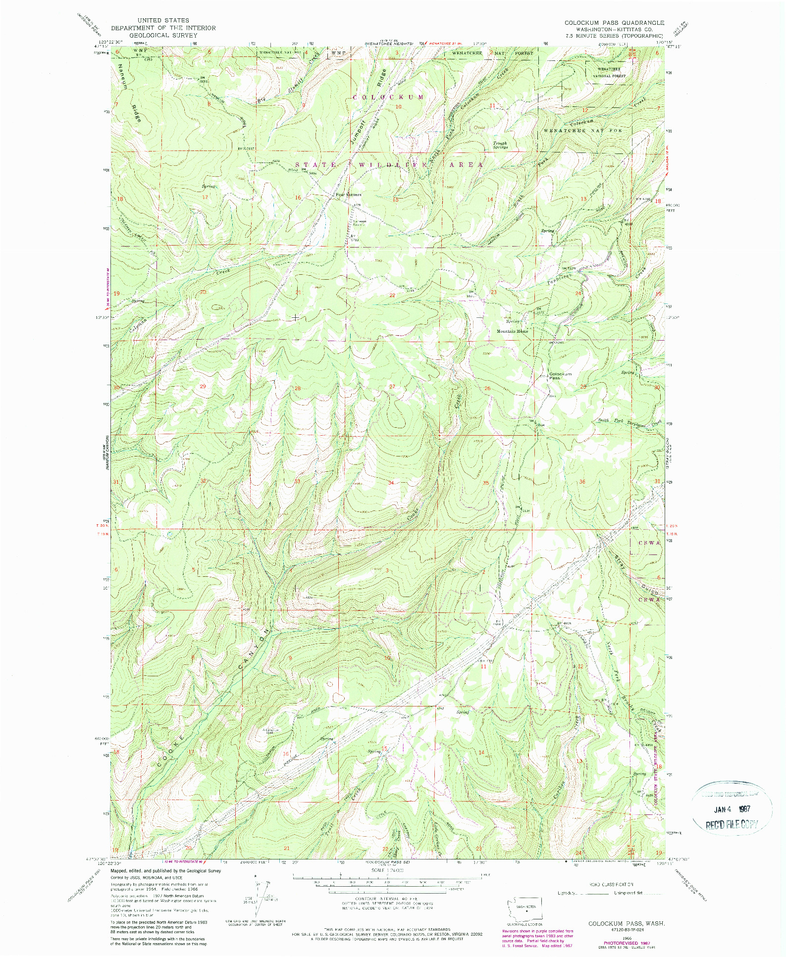 USGS 1:24000-SCALE QUADRANGLE FOR COLOCKUM PASS, WA 1966