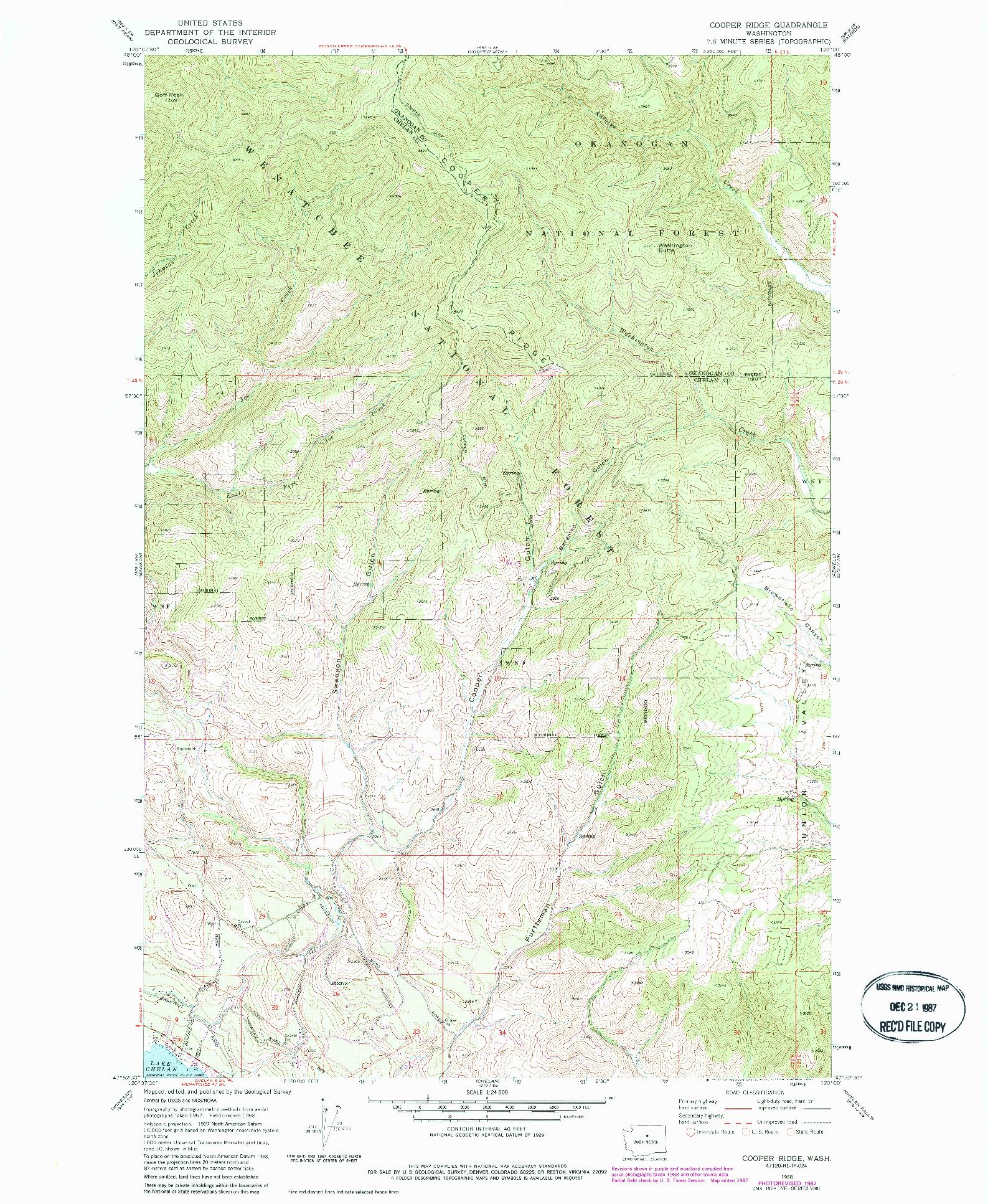 USGS 1:24000-SCALE QUADRANGLE FOR COOPER RIDGE, WA 1968